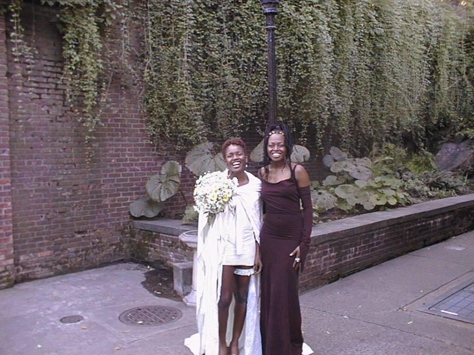 Donna McElroy and Shelita Birchett Benash, 1998.  Donna on the day she married Joseph McElroy.