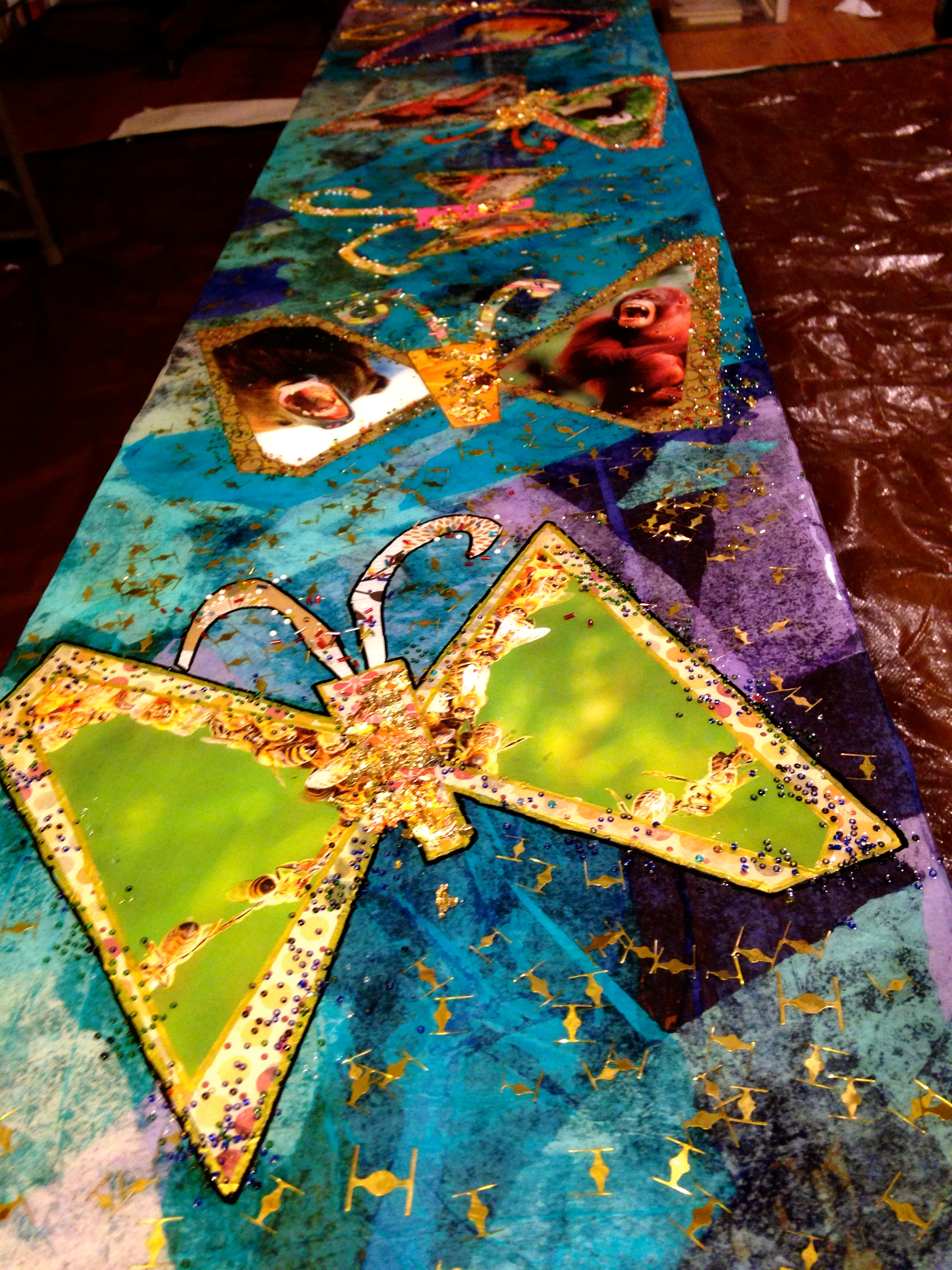 """Butterfly Bench."" Salvaged paper and metal collage by Shelita Birchett Benash. 2013."