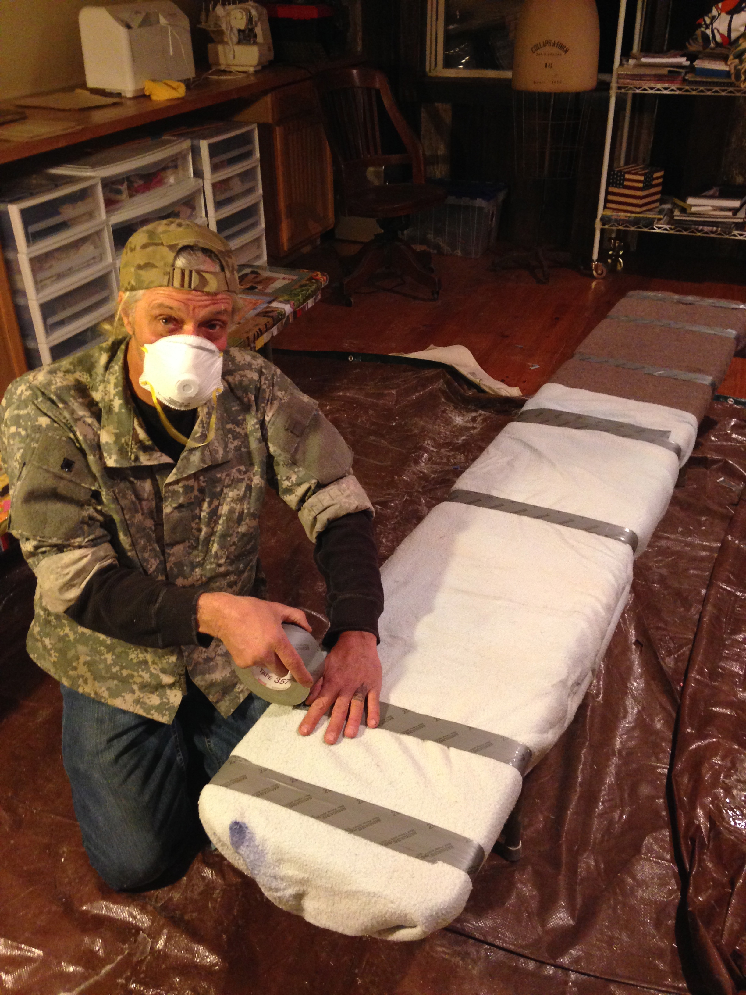 After sanding, Richard helps with packing the benches for transport to the MRF.