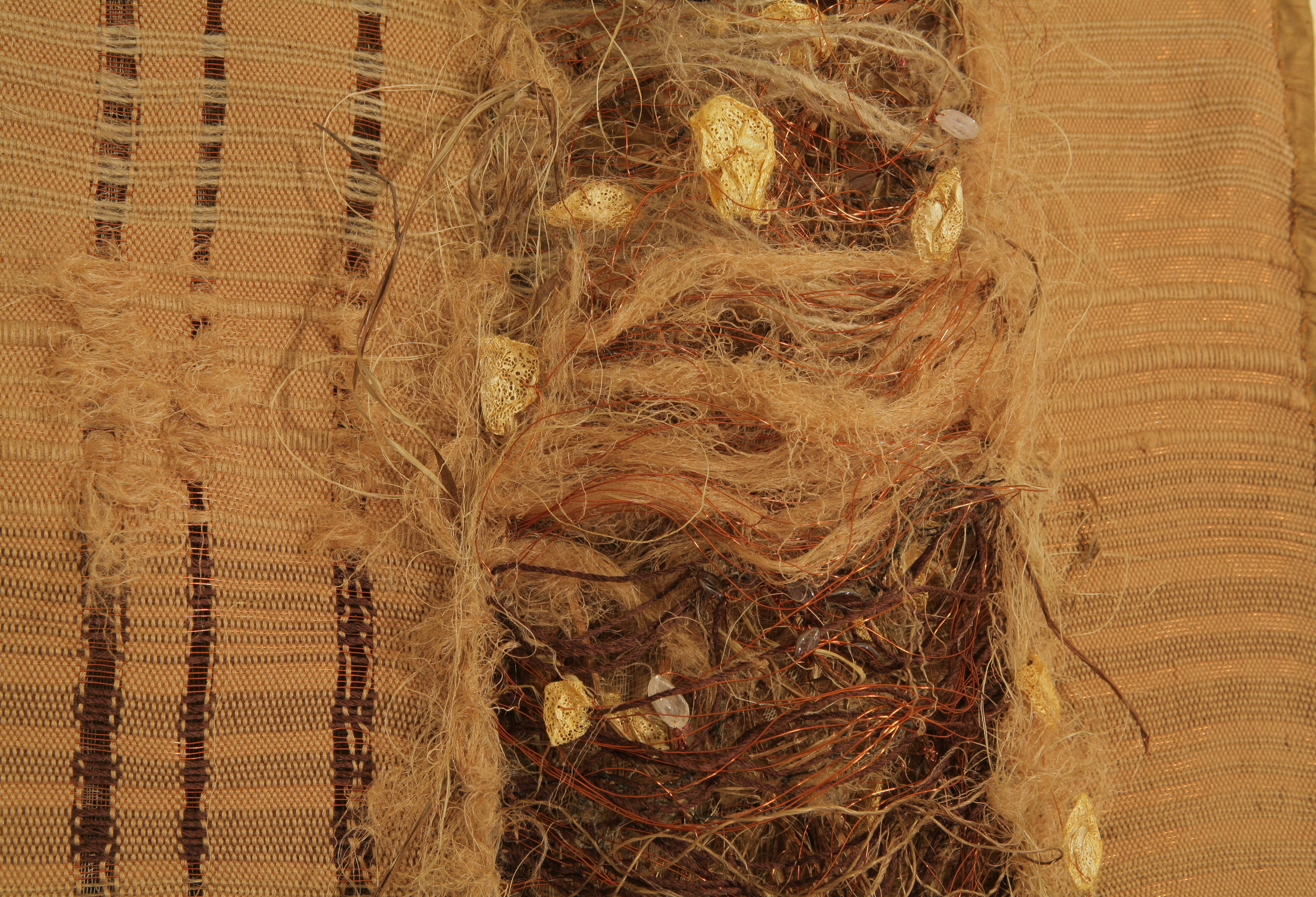 """Bramble:"" Bamboo, silk, copper and organic fibre. Handwoven on floor loom. Hand tied and stitched by Shelita Birchett Benash. 2007. 36""x118"". 2007."