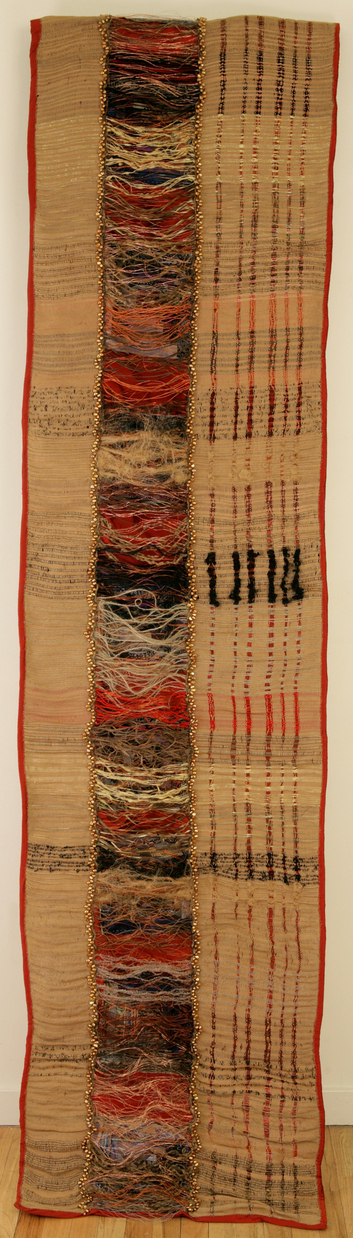 """Sphinx:"" Bamboo yarn, silk copper, fresh water pearls and organic fibre. Hand woven on floor loom. 2007."