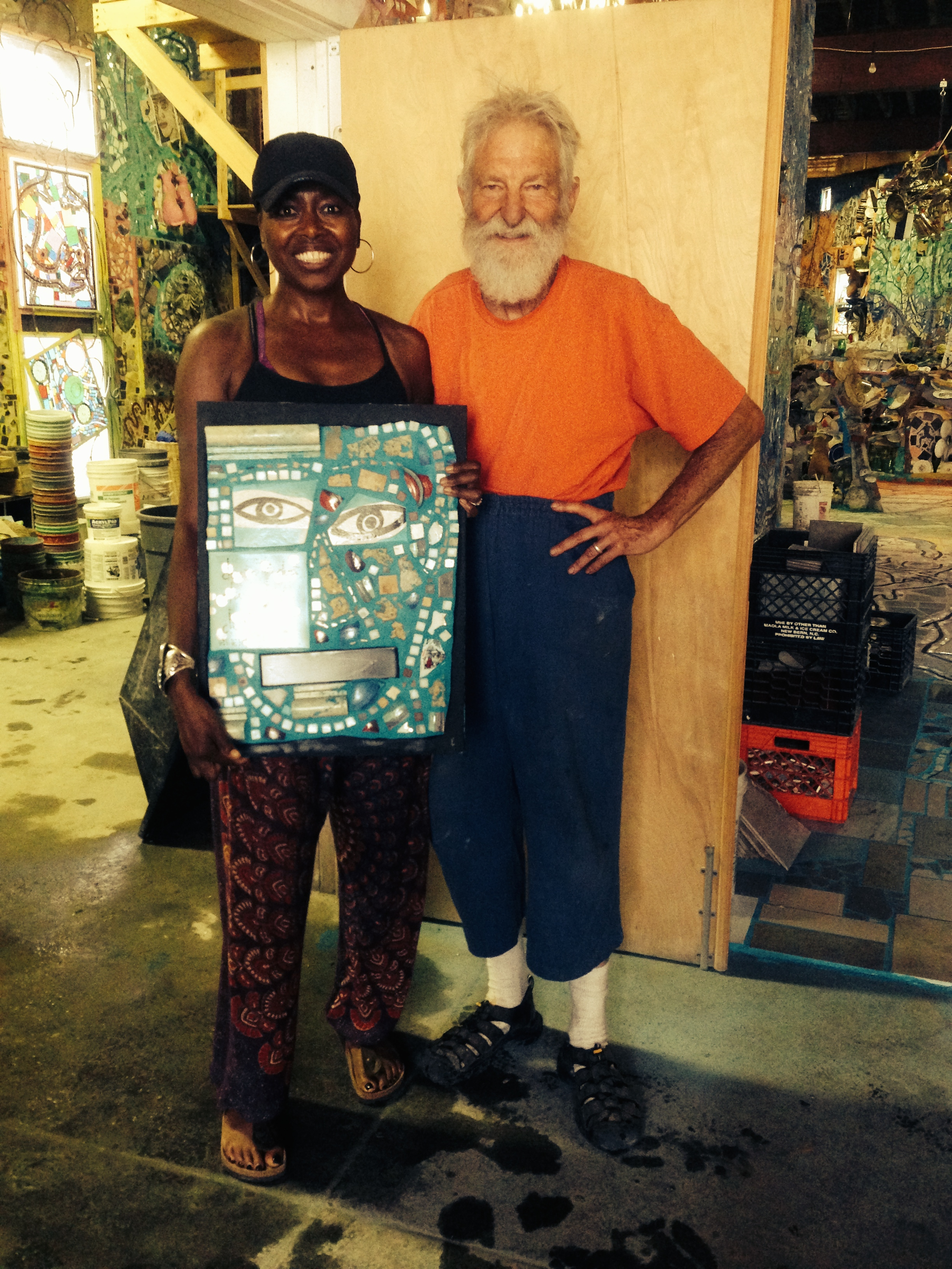 At Zagar's South Philadelphia studio after a long 2 day mosaic mural installation at 5th and Poplar. I then bought one of Zagar's small mosaic works to take home with me. Amazing. 6/30/14.