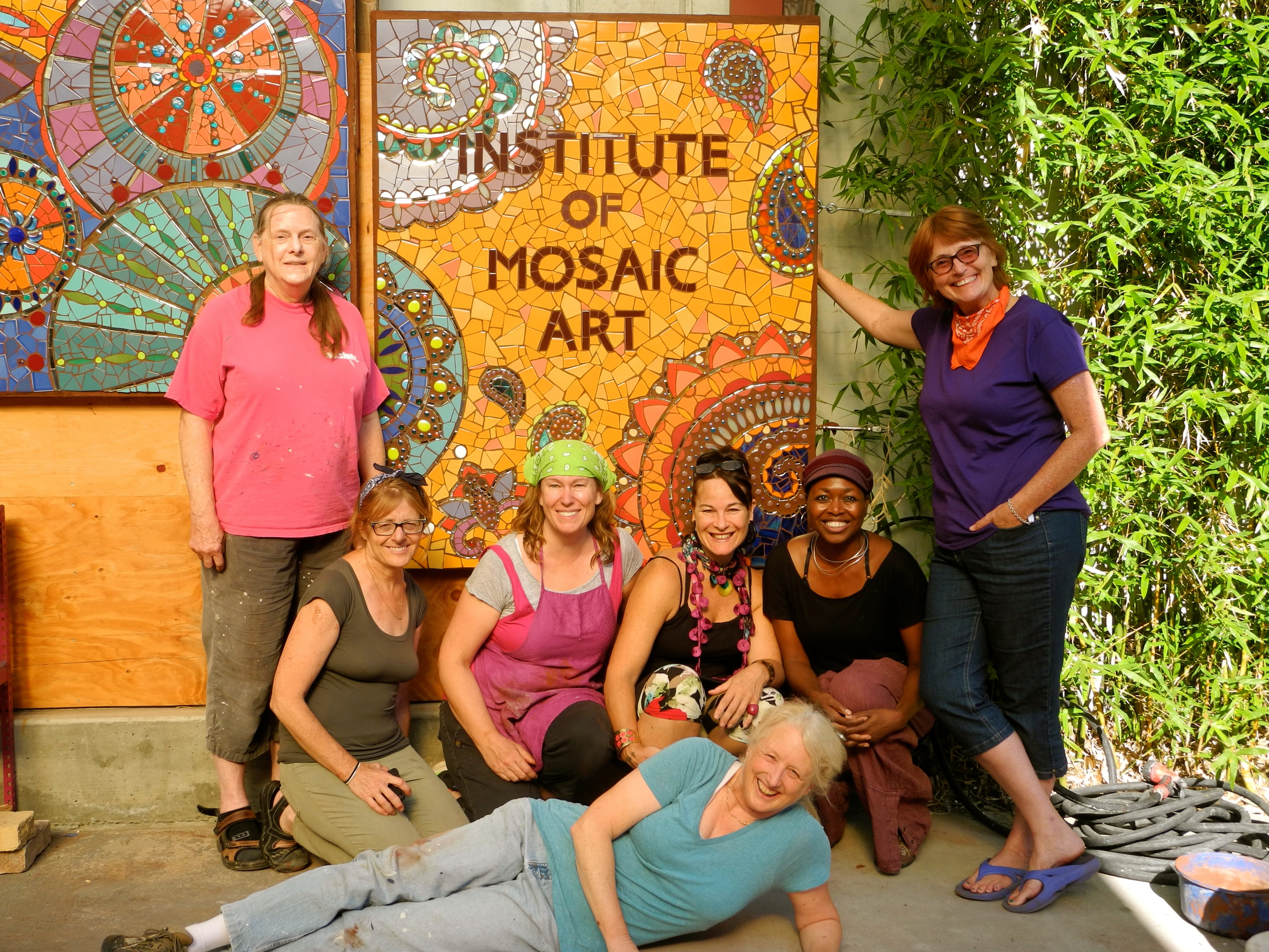 Laurel True with me and my classmates. We were the production team for the creation and installation of Laurel True's mosaic mural at the Institute of Mosaic Art in Berkeley, CA. August 18, 2014.