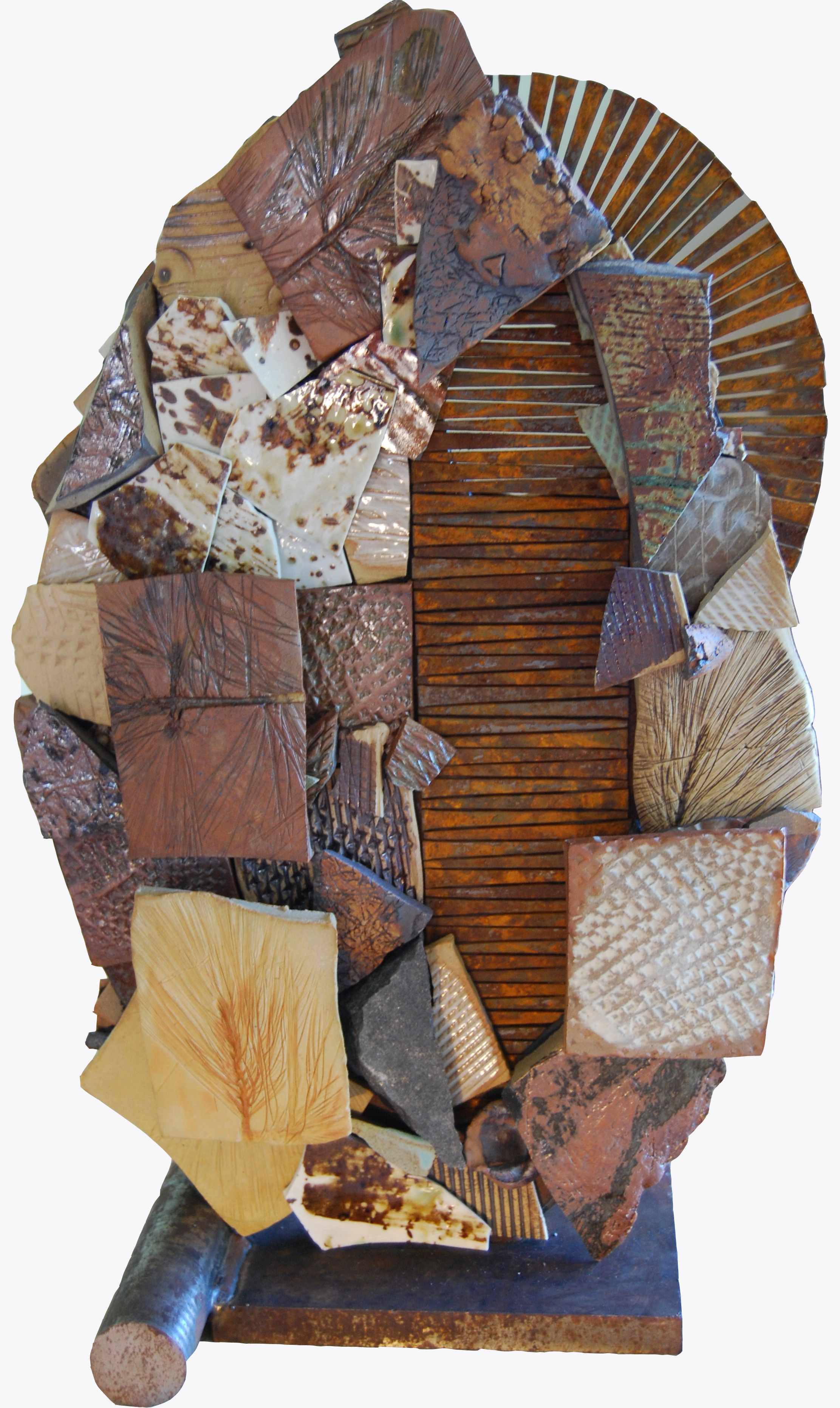 """Conjure"" Ceramic mixed media mosaic Side B by Shelita Birchett Benash, 2014. Side B.  21""H x 14""W x 9""D. 60 LB.  Ceramic, stone, 24 KT gold smalti, and salvaged steel."