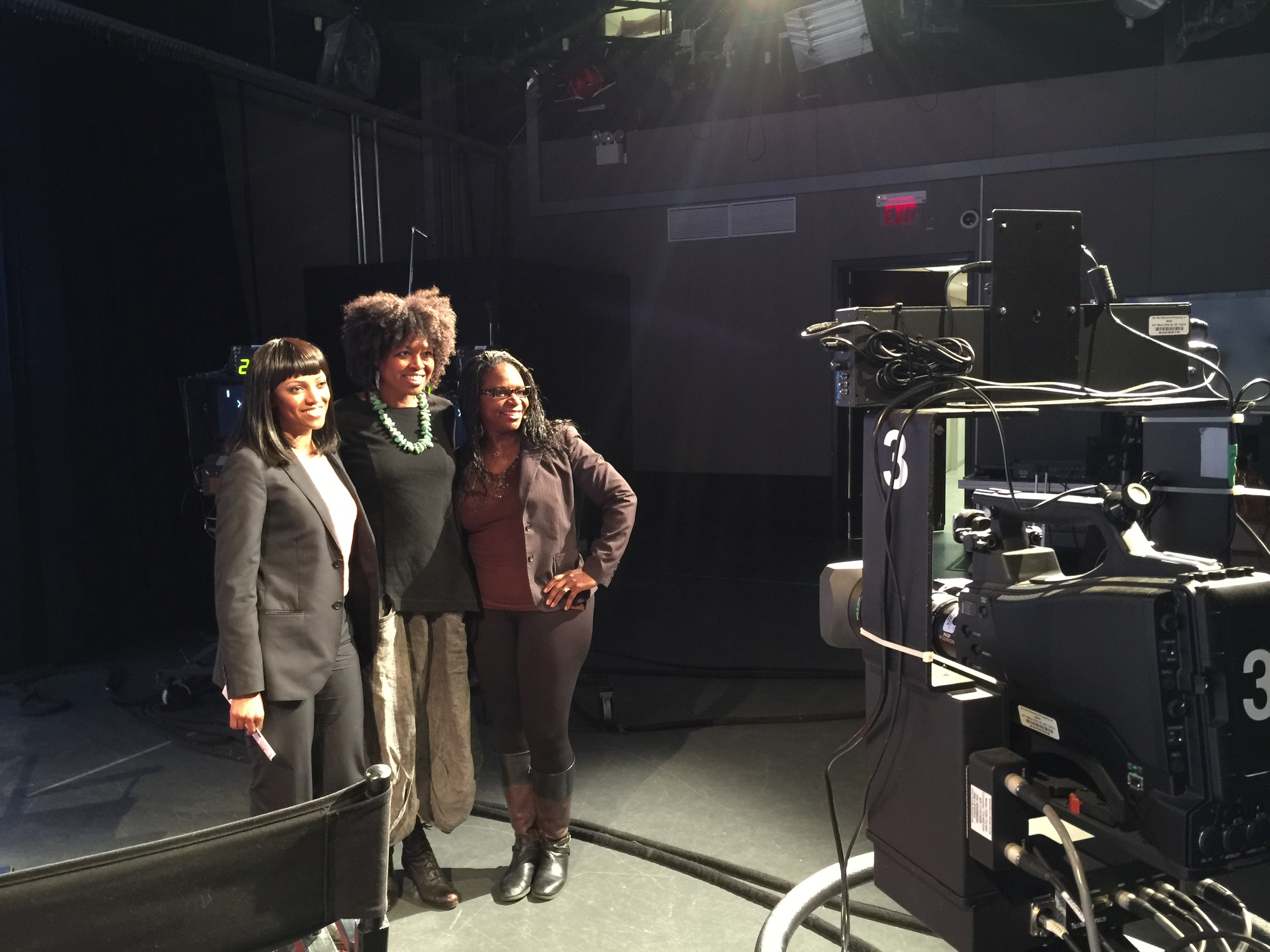 ©Shelita Birchett Benash with actress, Deirdra McDowell and director, Marishka Phillips at MNN studios in NYC, March 23, 2015.