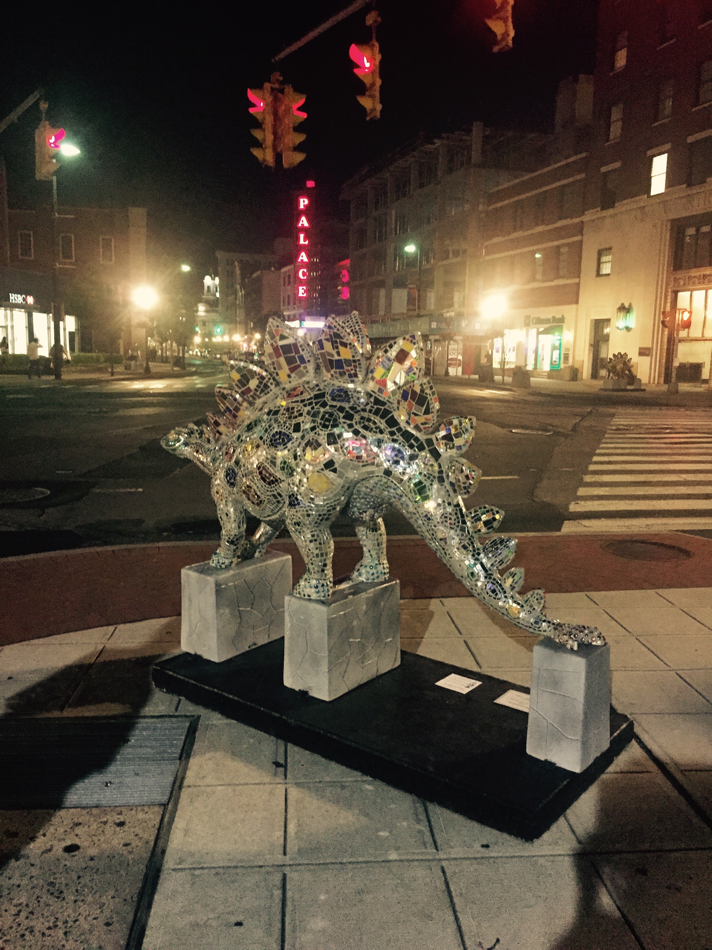 """Starosaurus"" Handcrafted mirror and stained glass mosaic. ""Dinosaurs Rule!"" Stamford Downtown, 2015"