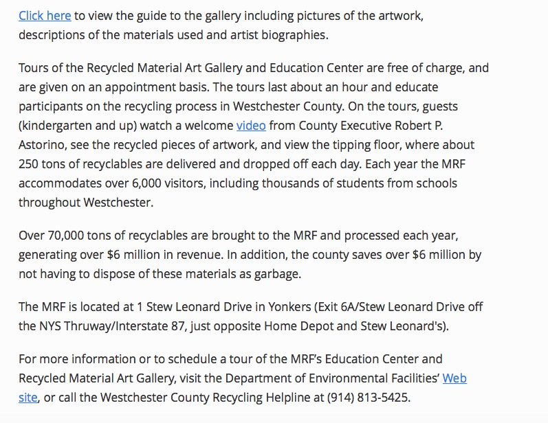 Westchester Materials Recovery Recycled Art Gallery_Shelita Birchett Benash_Richard Benash_2014