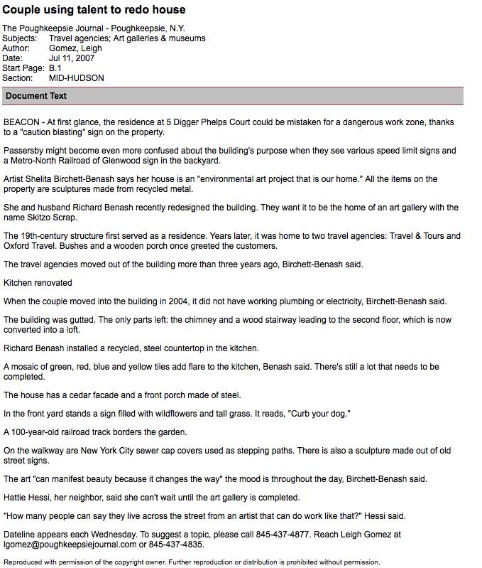 Poughkeepsie Journal_Beacon NY_Shelita Birchett Benash_Richard Benash_2007