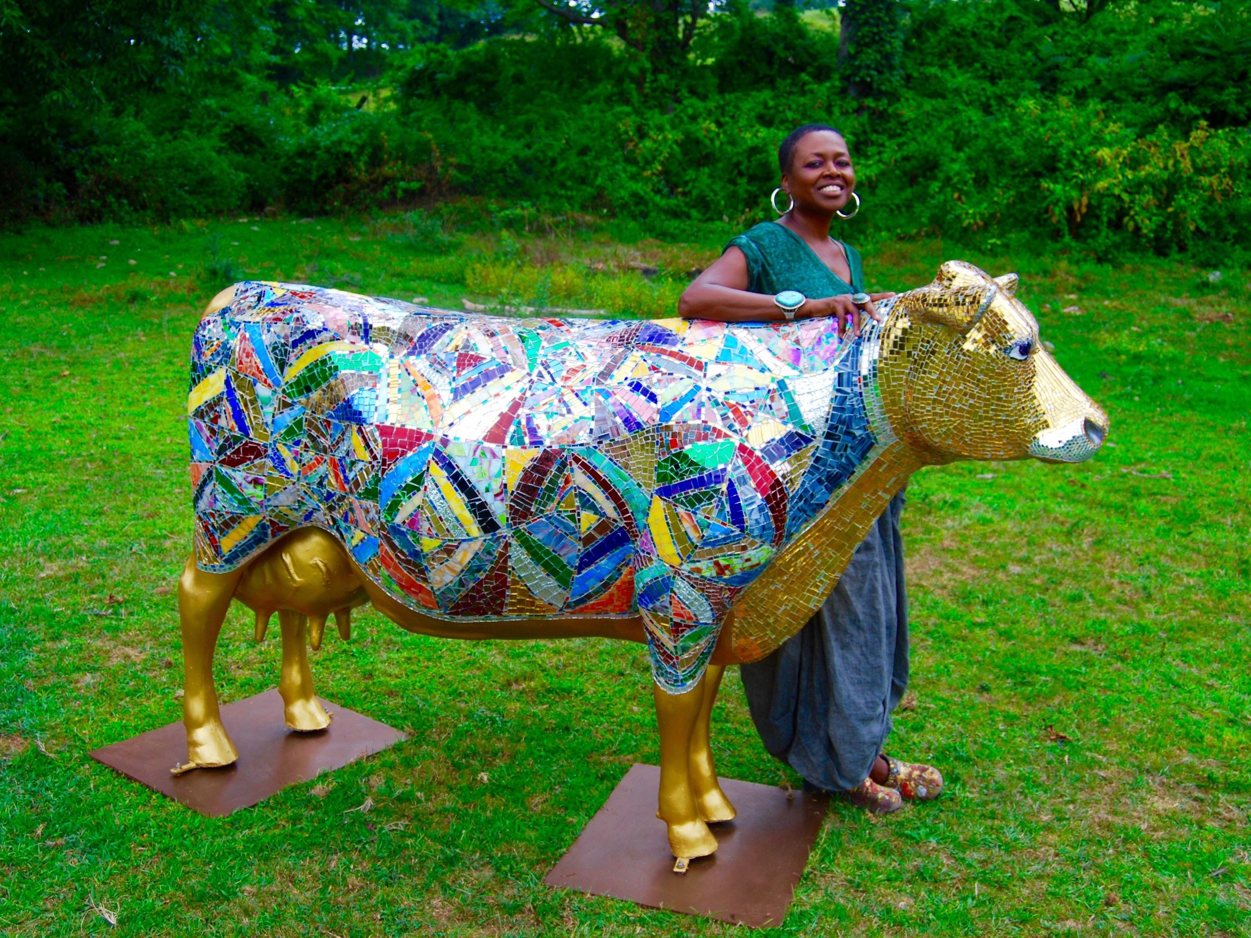 """Holy Cow!"" Art glass and mirror mosaic sculpture on fiberglass by Shelita Birchett Benash"