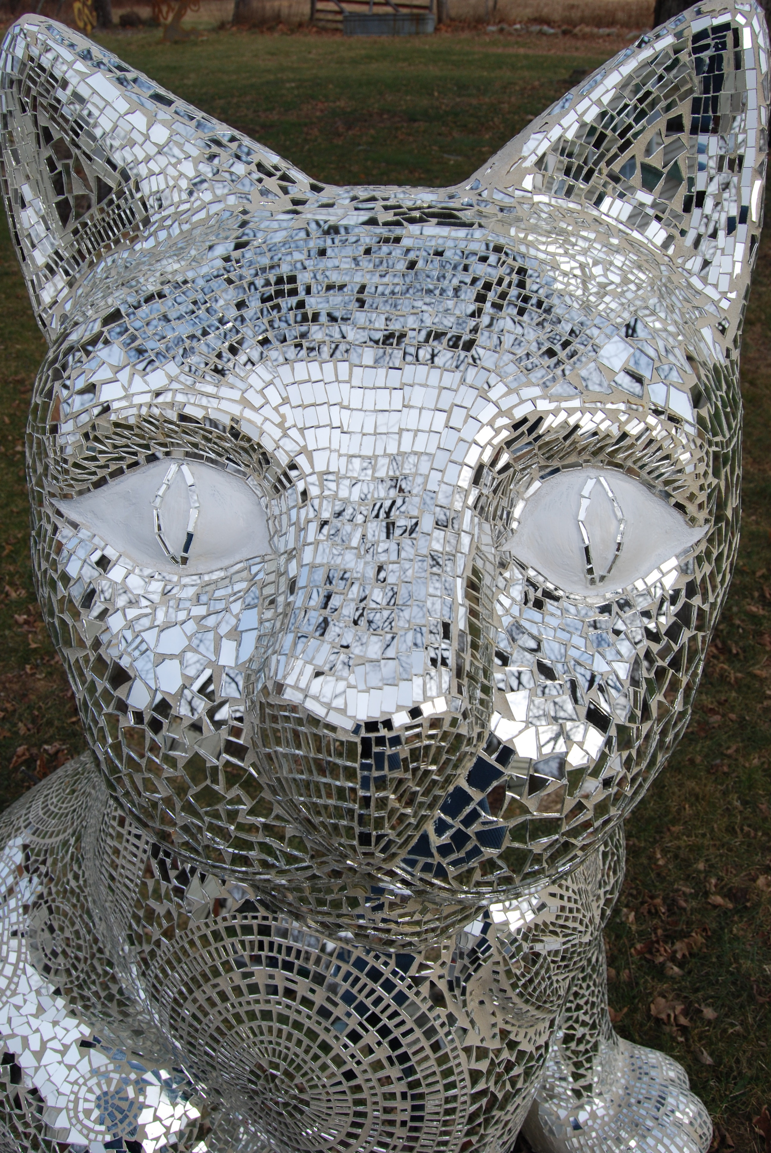 """Chloe"" Hand cut glass mirror mosaic by Shelita Birchett Benash. 5'H x 2.5W x 4'L. 2011."