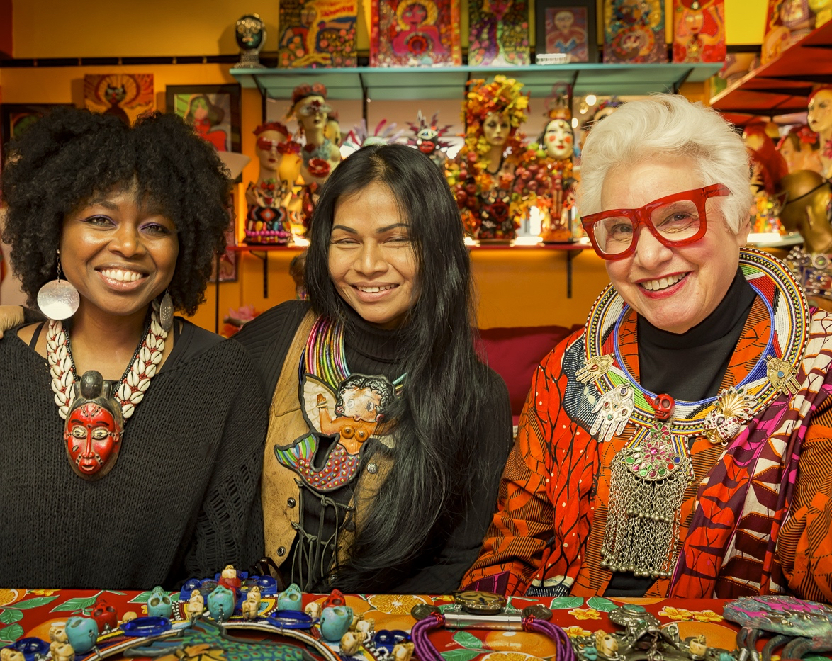 Shelita Birchett Benash, artist/curator meeting with prolific outsider artists Sue Kreitzman and Anothai Hansen at Sue's NYC studio before the opening of Out of Bounds: Freedom of Expression Exhibition December 2014.