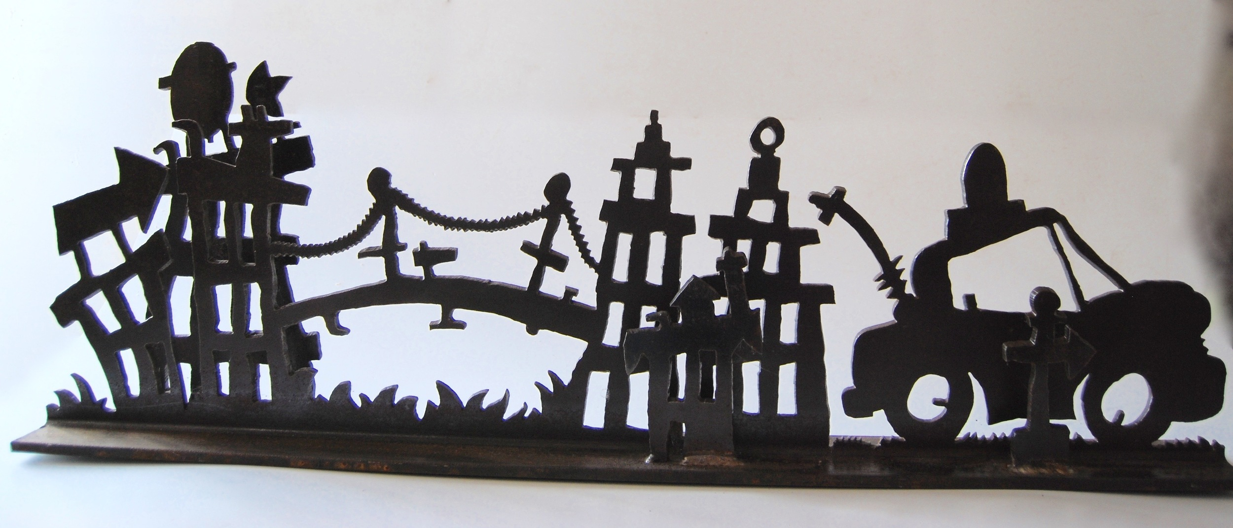 Richard Benash_Salvaged Steel Sculpture_Taxi City_2015
