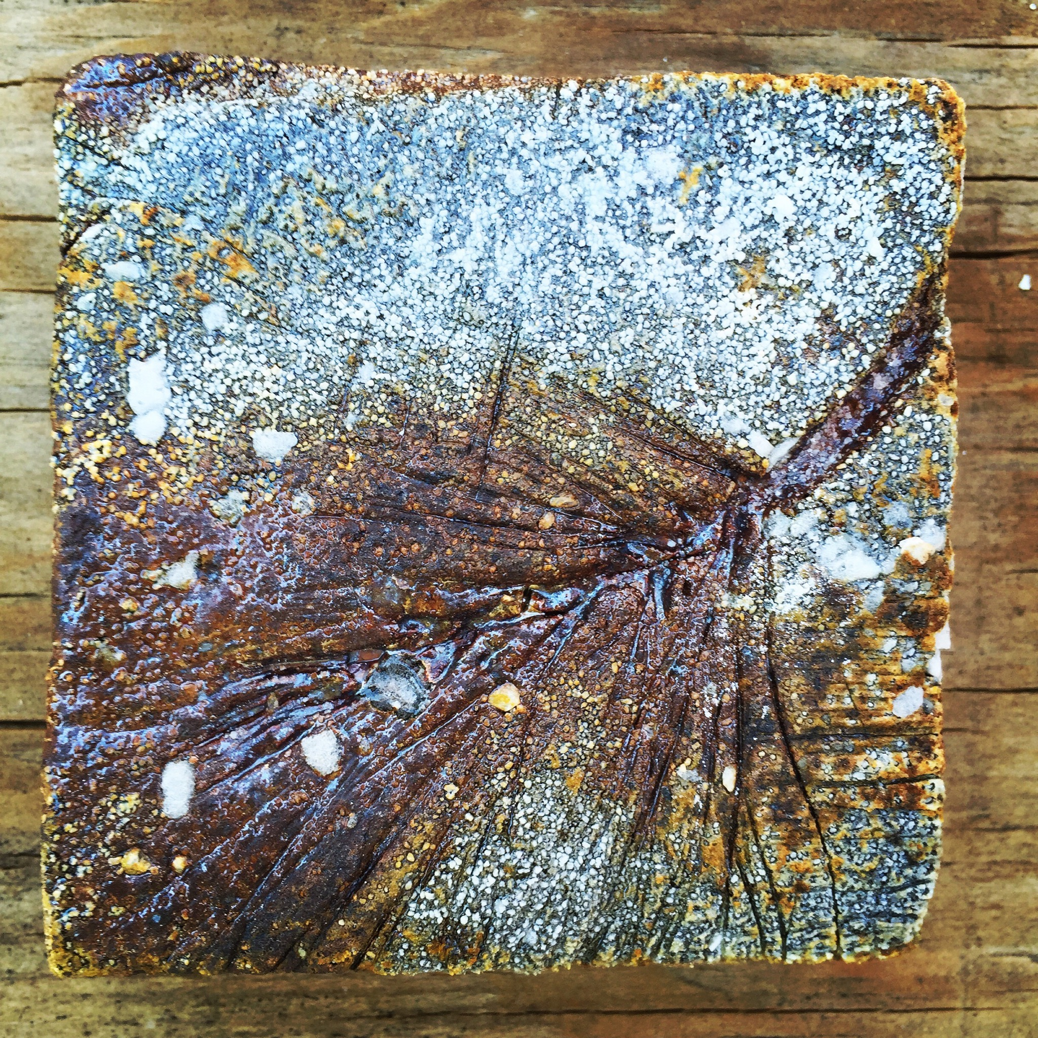 ©Photograph by Shelita Birchett Benash  Handmade wood fired ceramic tile. Work in progress. One of 200 ceramic tiles that were fired at Tony Moore's April wood firing. Several thousand more to go! I'm working on a large scale handmade ceramic tile project. Looking forward to many, many more wood firings, gas reduction and alternative firings...The beauty lives within the process...patience...Gratitude.  Check out my blog for more about the April wood firing at Tony Moore's anagama/ noriborigama Japanese style kiln in Coldspring, NY.