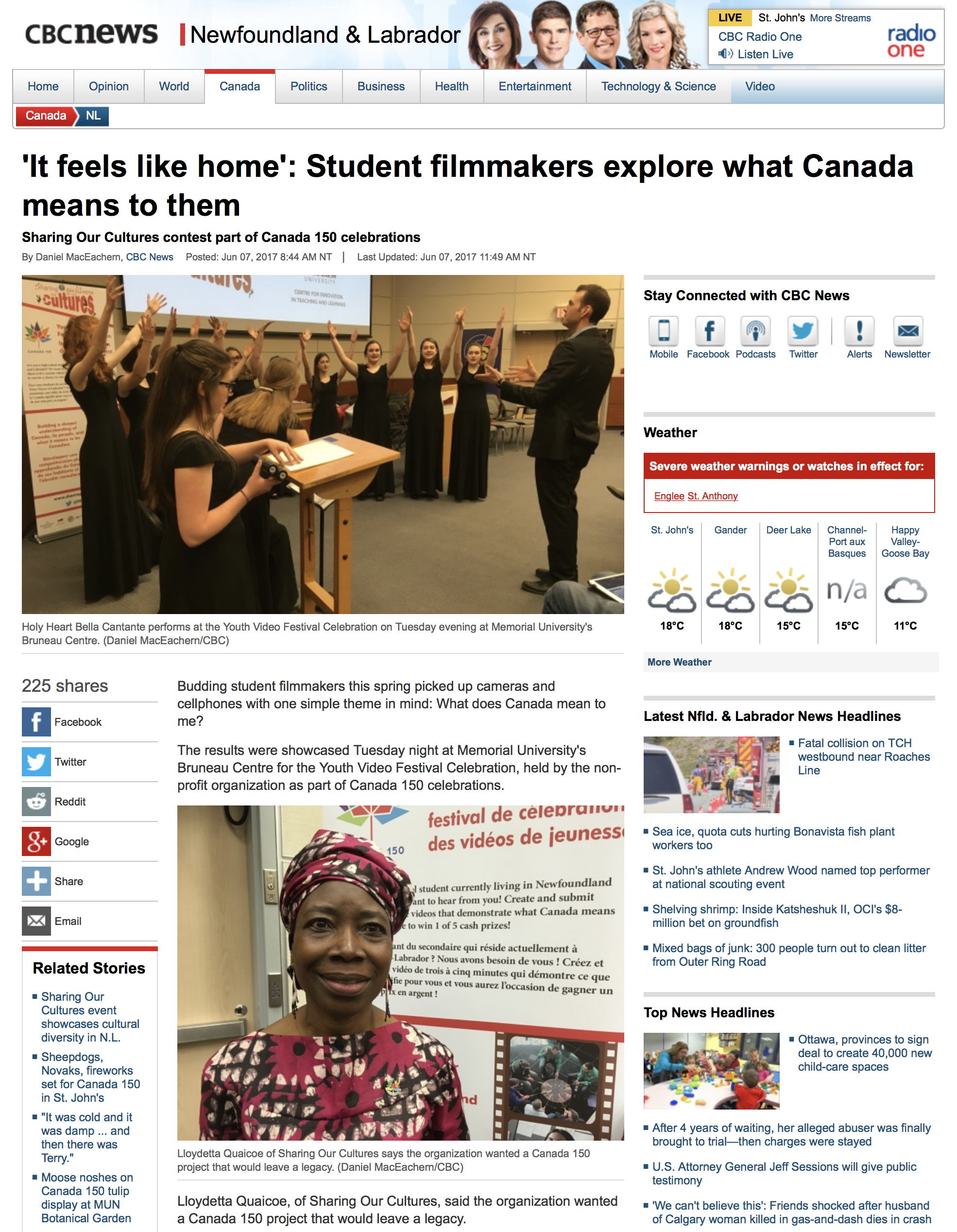 Read the article here...  http://www.cbc.ca/news/canada/newfoundland-labrador/youth-video-festival-celebration-canada-150-1.4148918