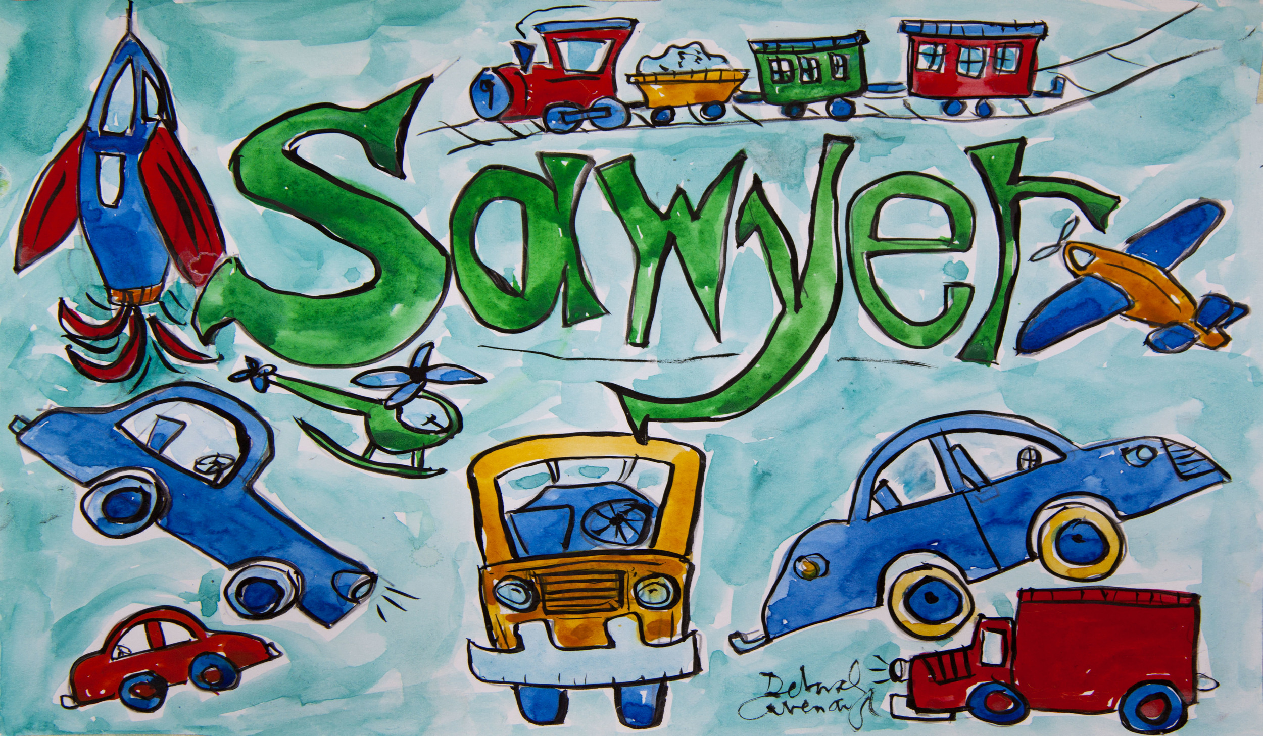 """Sawyer"" Child's Name Print with Transportation"