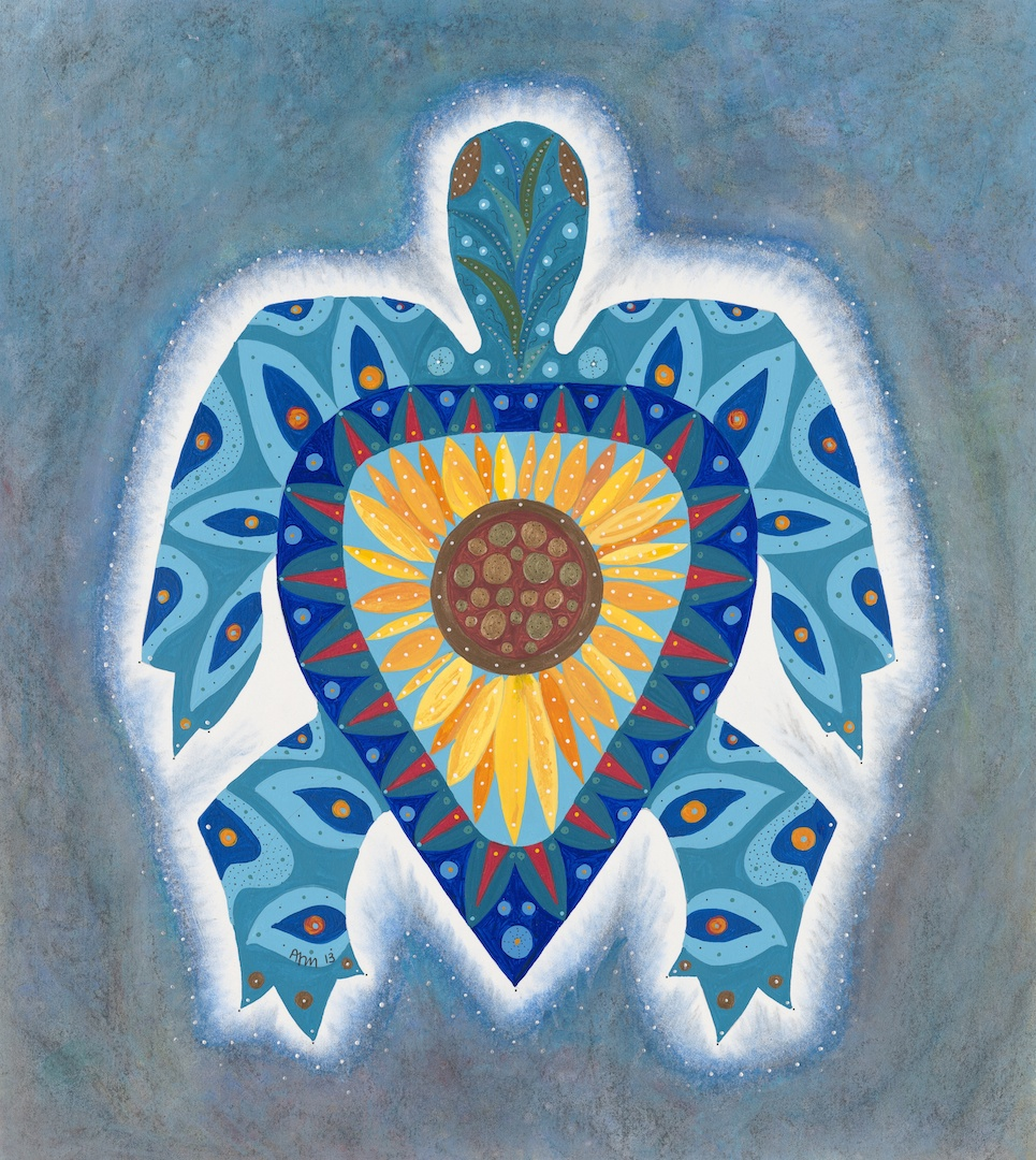Sunflower Turtle - one of several paintings on exhibit at Vitality Yoga in Uxbridge.
