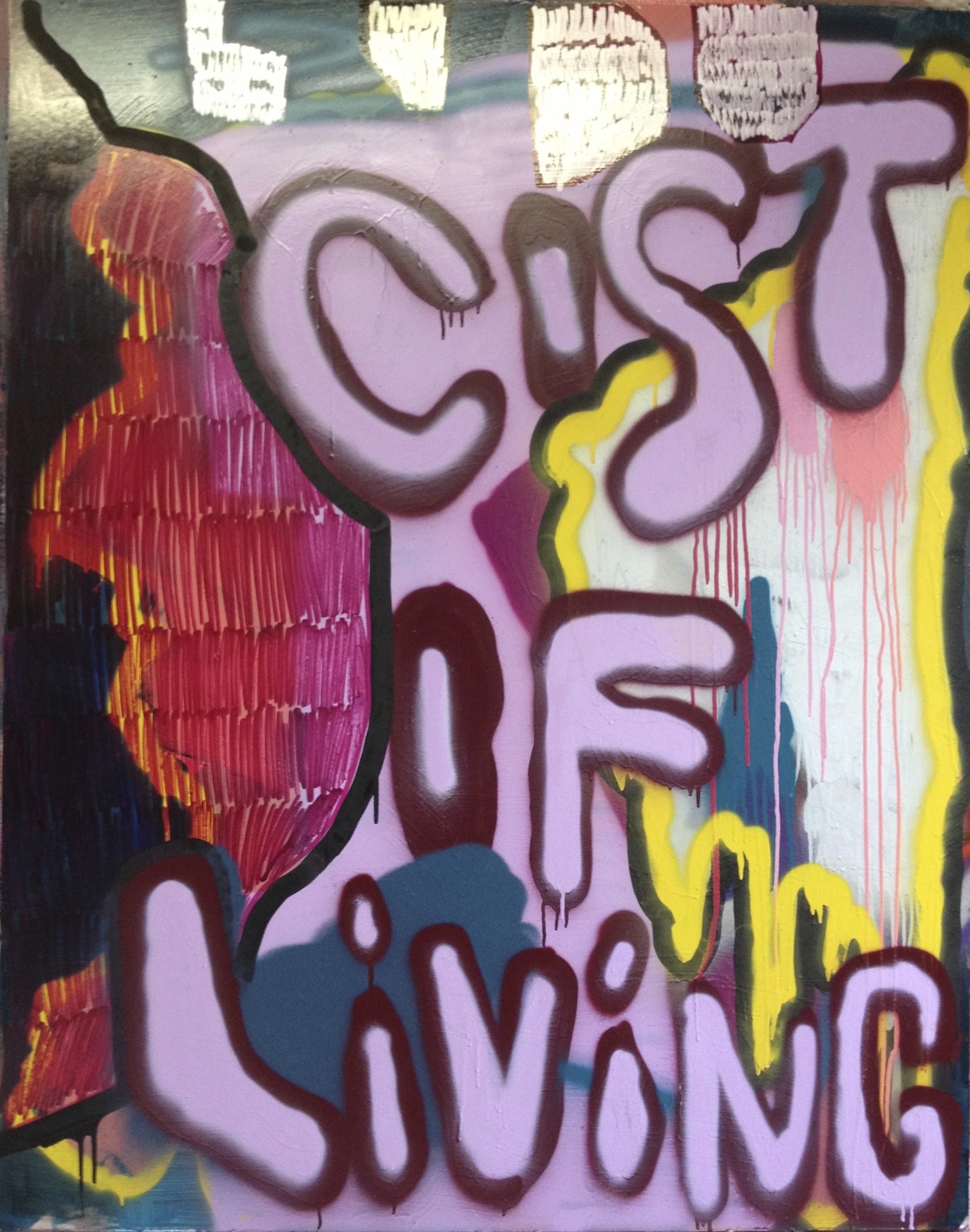 """Cost of Living, 60"""" x 48"""", Acrylic on Board"""