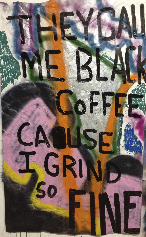 "Black Coffee, 70 x 41 3/4"", Acrylic on Paper"