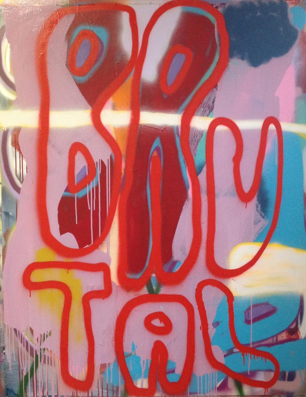 "Brutal, 48"" x 35"", Acrylic on Board"