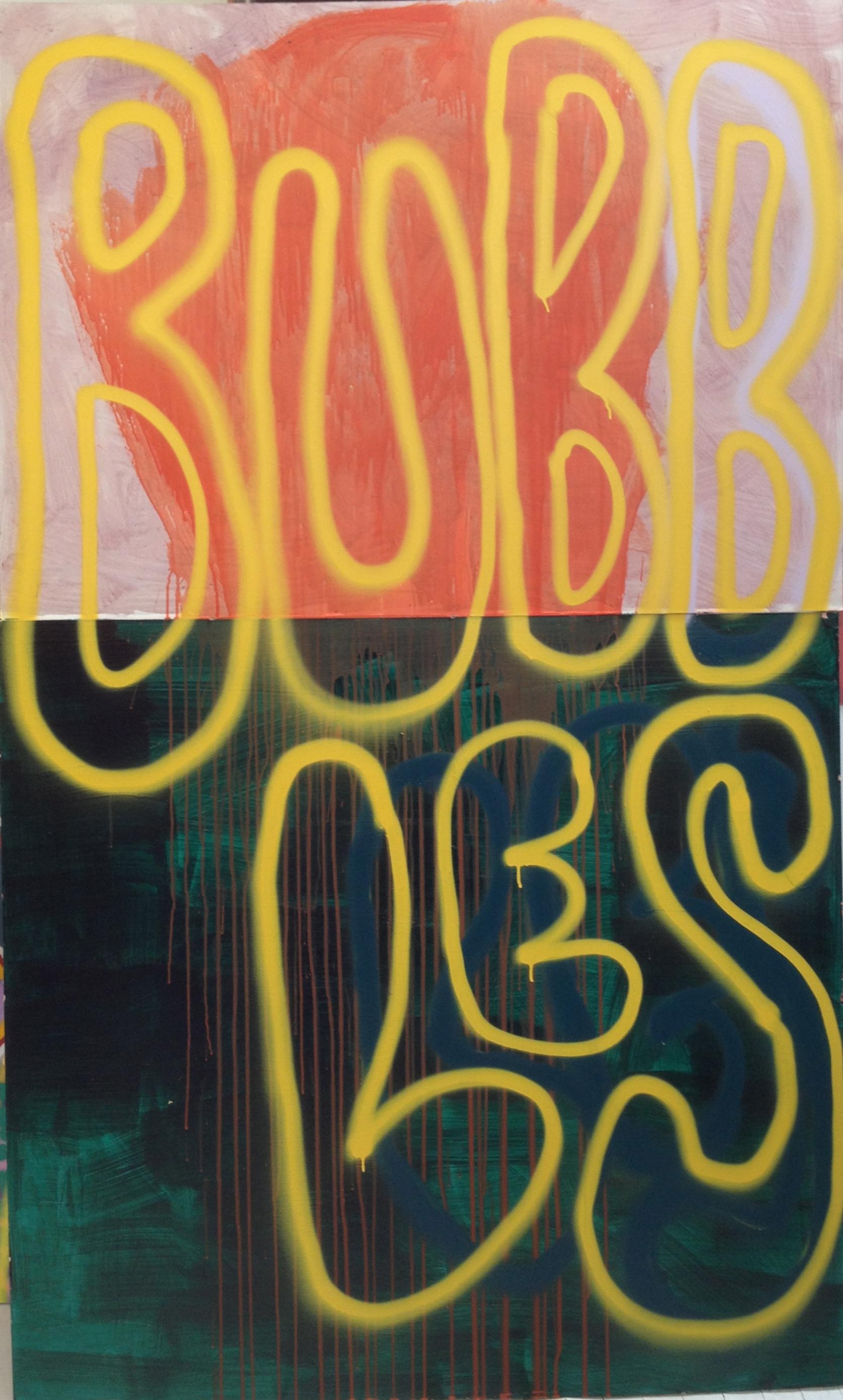 "Bubbles, 80"" x 48"", Acrylic on Board"