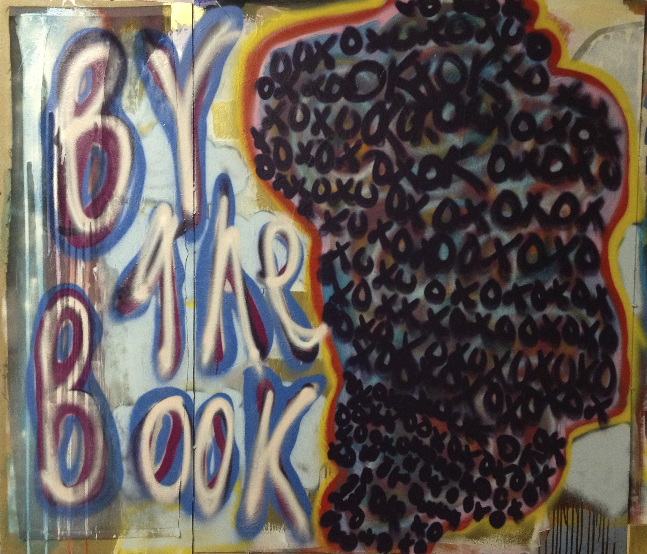 """By The Book, 68 3/4"""" x 60 3/4"""", Acrylic, Marker, Fabric. on Board"""
