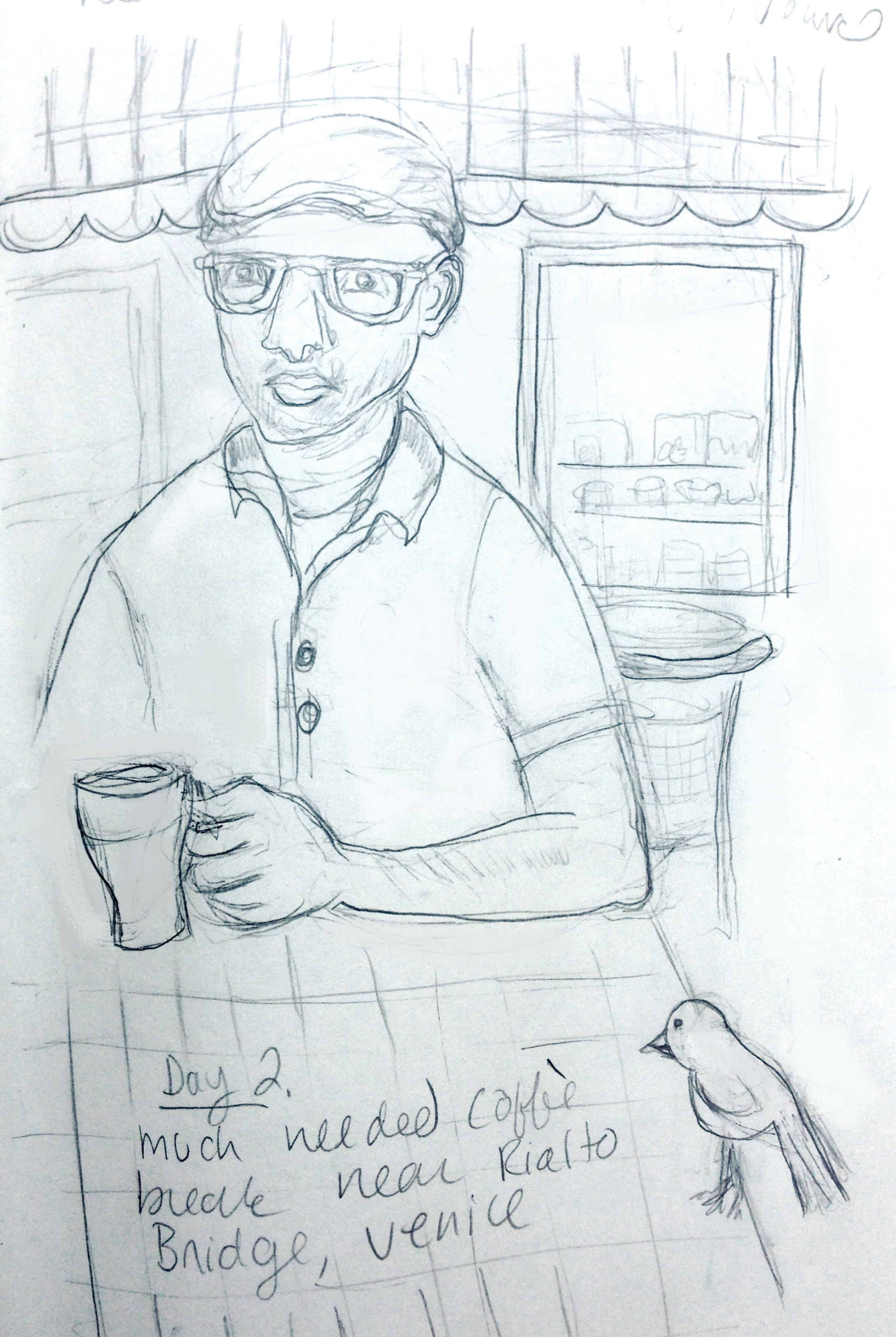 """After a long day of walking around the canals of Venice, we took a break and got a """"caffe"""" and watched people. I got this sketch of Tony sipping his caffe latte. This little bird was obviously used to scrounging crumbs because it became very friendly."""