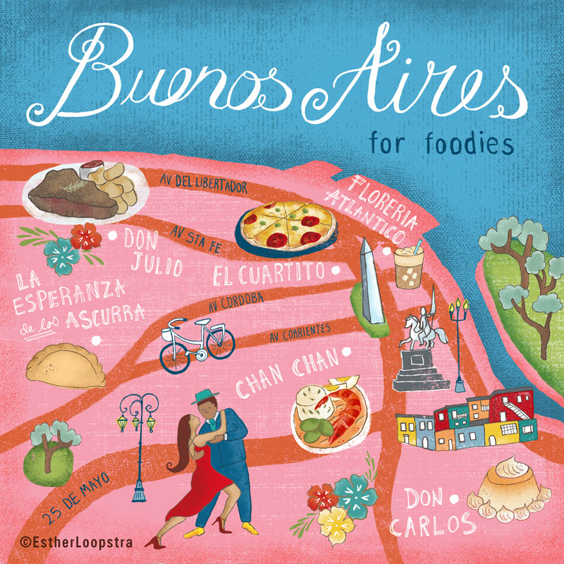 Map of Buenos Aires featuring some of the top rated local restaurants