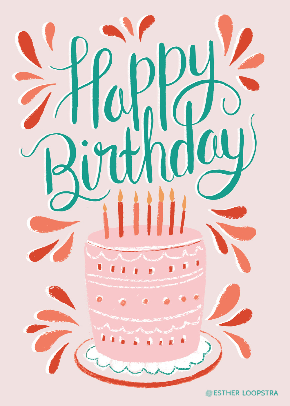 Happy Birthday Cake Card — ESTHER LOOPSTRA