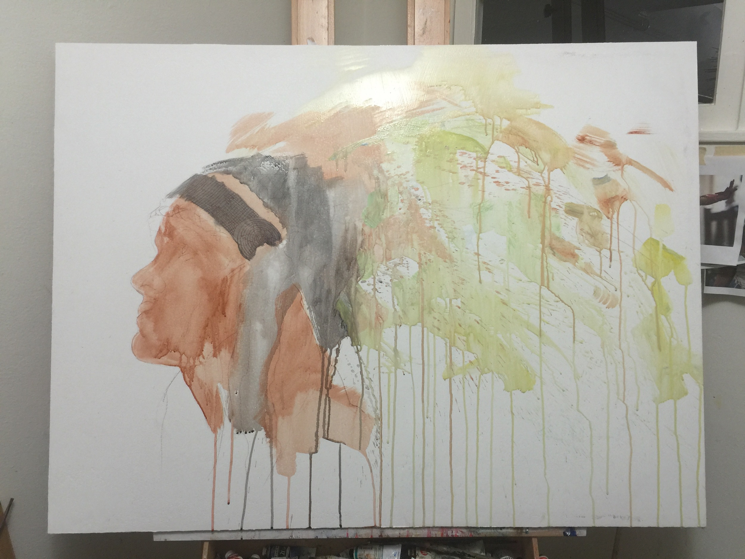 Underpainting, acrylic wash.