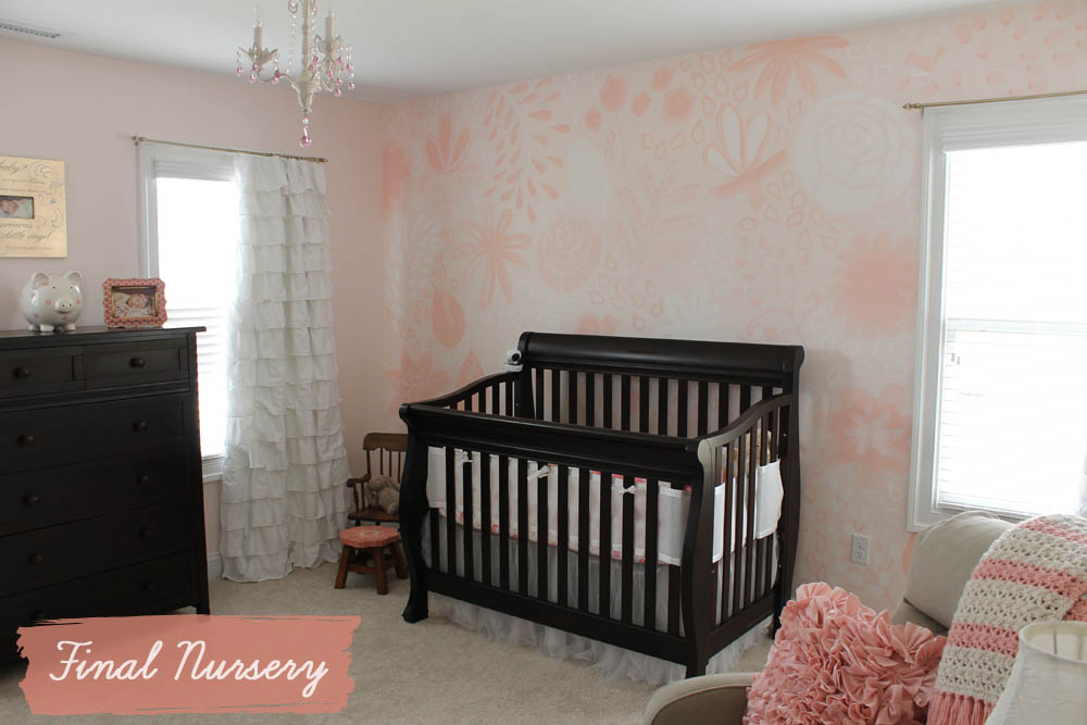 nursery mural with furniture