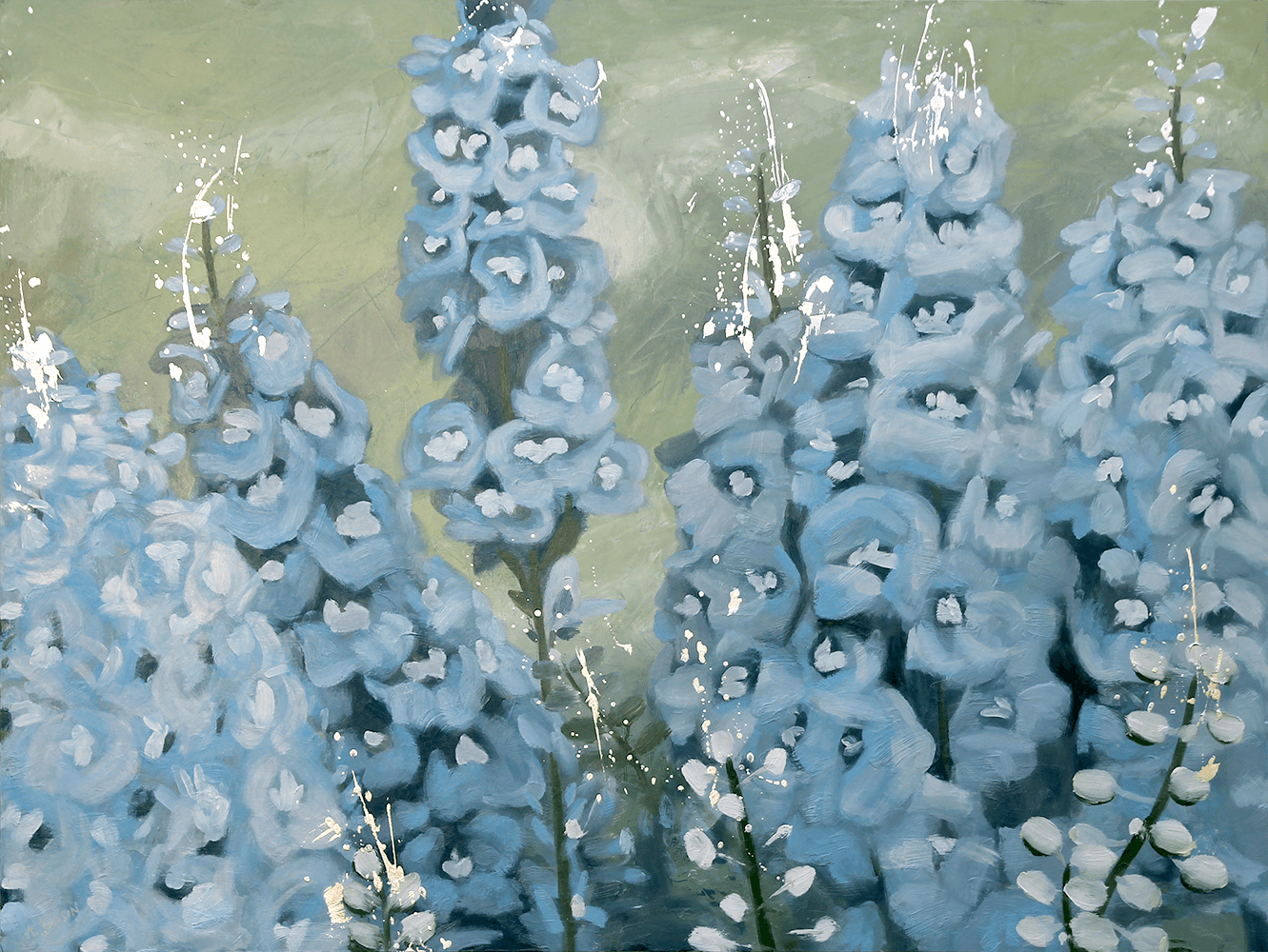 Larkspurs in Blue and Green