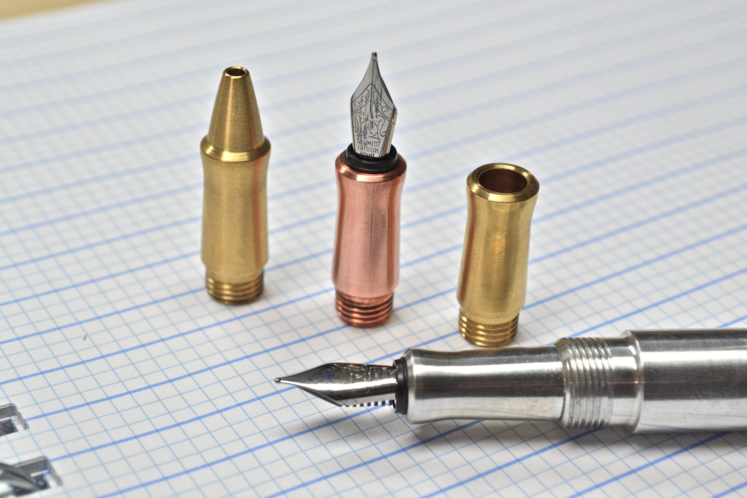 Karas Kustoms Ink grip sections: brass, copper, aluminum