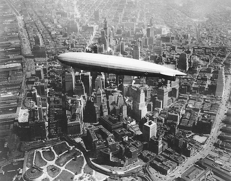 Zeppelin over New York City.  Image from   Wikipedia