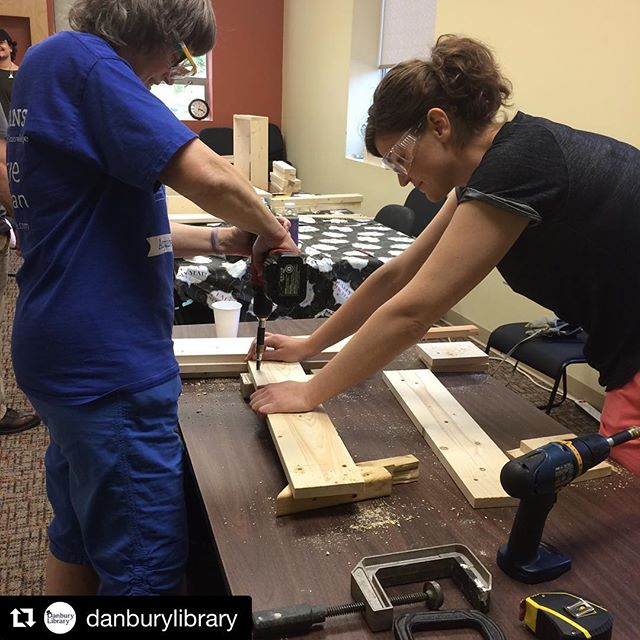 "#Repost @danburylibrary (@get_repost) ・・・ @katiejacksonwoodworks is here helping build this awesome side table! To quote a participant, ""This is so cool! It's so different from anything you'd think you could take in a #library!"" #librariestransform #librariesofinstagram #create #make #makerinresidence #woodworking #build"