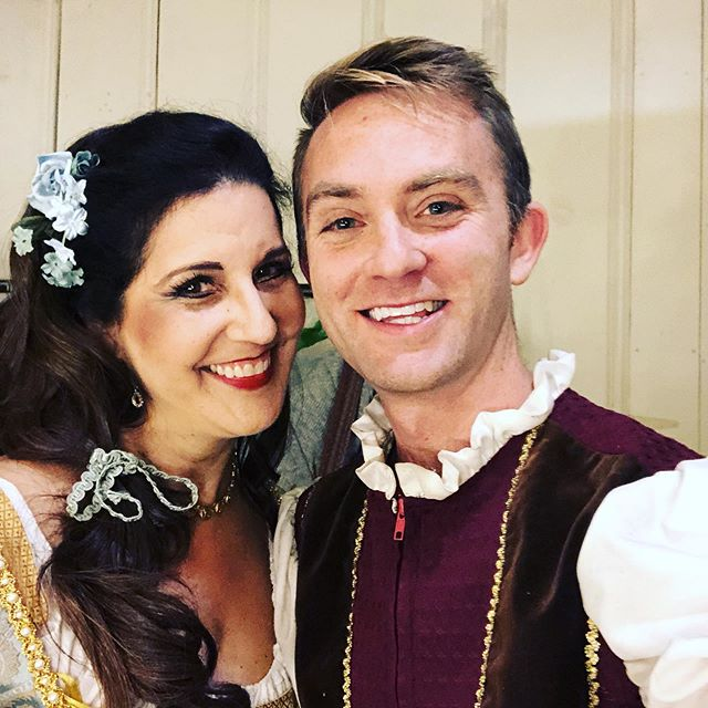 Fenton and Nanetta on the closing night of #falstaff! Thanks to @kristinsoprano for being a fantastic partner on stage, and I'm having super mixed emotions about retiring these puffy sleeves! It's been fun being in a traveling show around #California! . . . #tenor #operasingersofinstagram #musiciansofinstagram #singersofinstagram #classicalmusic #classicalmusicians #bayareamusicians #performance #costume #touringshow #professionalmusician #verdi #opera #musician #ensembles #soloist #vocalists #nanetta #backstage #greenroom #closingnight #instaopera #operafan #operasinger #operasingerlife