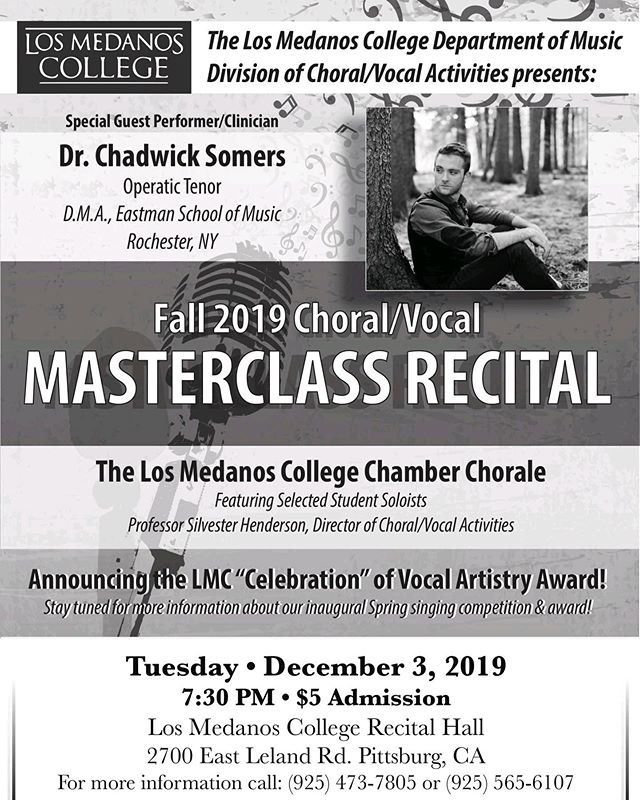 Looking forward to performing/teaching this masterclass at  #losmedanoscollege! I post a lot about performing and not a ton about teaching, but that doesn't mean it's not close to my heart. In fact, I find so much inspiration from my students—thank you to all of them! In the meantime, prepping some arias, #duparc, #wolf, and #sondheim for them! . . . #voice #voiceteacher #sing #singer #vocalist #masterclass #tenor #performance #teach #teachersofinstagram #operasingersofinstagram #artsong #aria #musicaltheater #practice #poster #performance #contemporarymusic #bayareamusicians #concert #guestartist