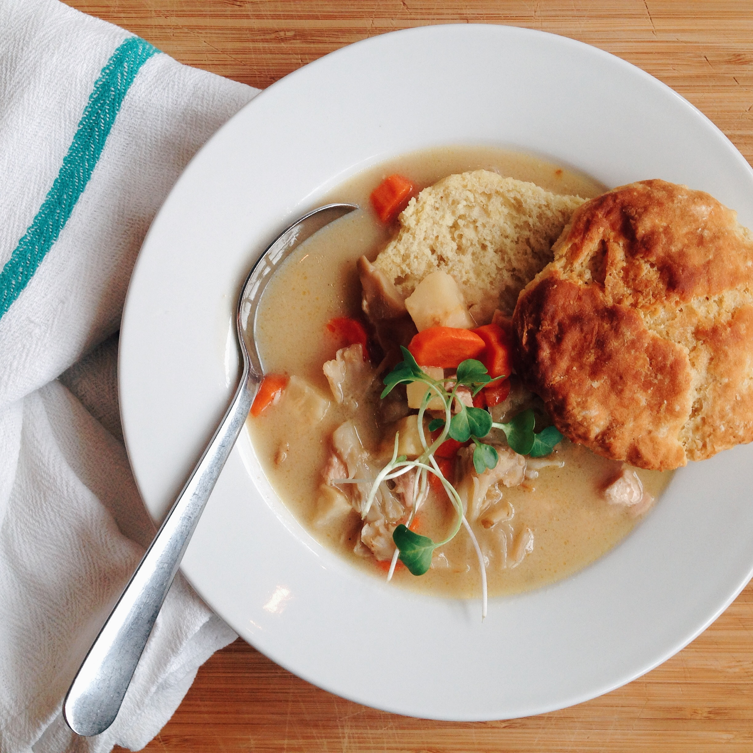 Chicken pot pie with celery root and rosemary for Good Eggs lunch. Photo by Annie Svigals