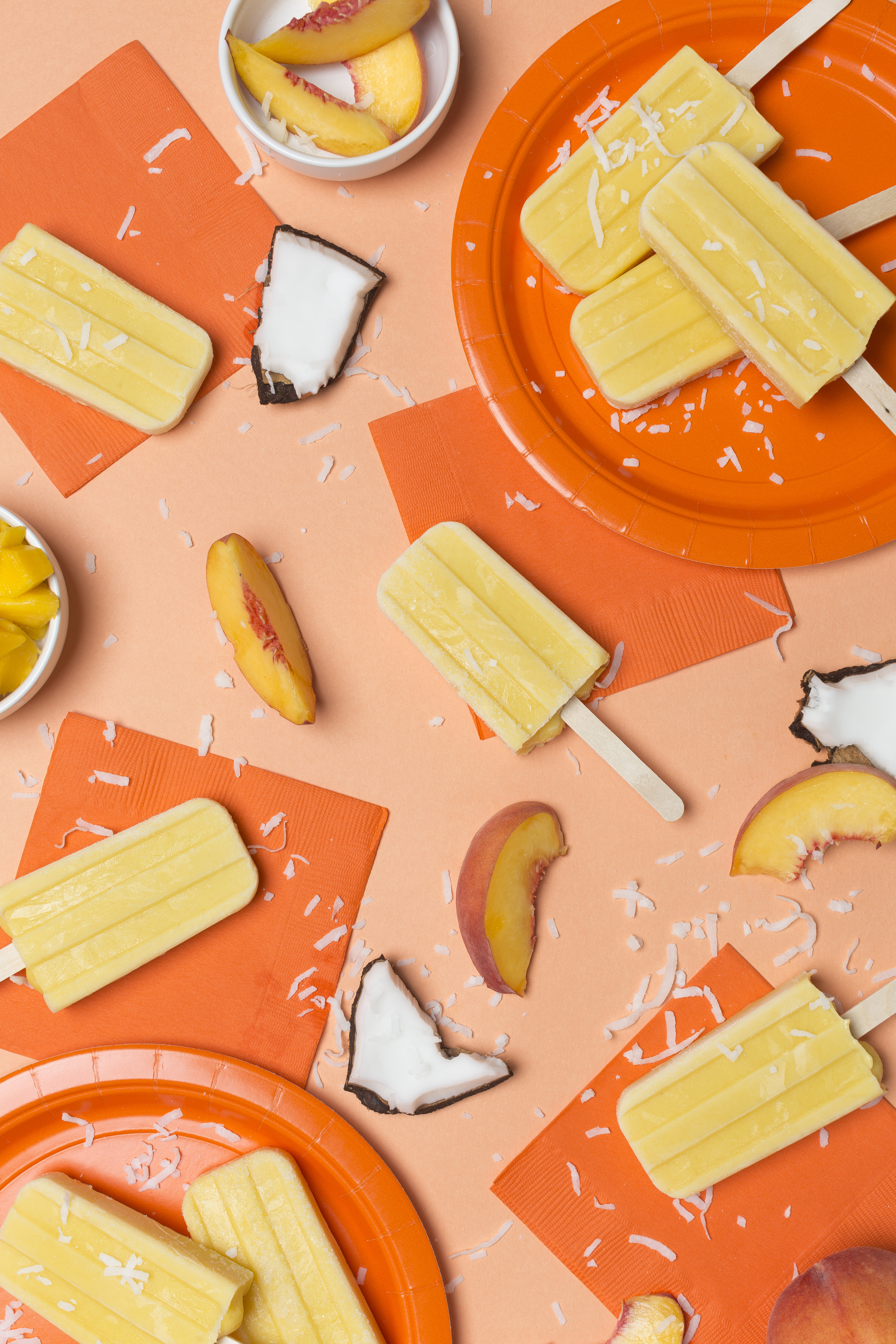 Hellooo!! We are home from Alaska, and back to real life... Meaning.. Back to a freezer full of colourful popsicles! I super love this popsicle! If you love mangos, you will super love this popsicle too! 🍑       Peach Mango Coconut-   3 Peeled Peaches   2 Peeled Mangos   1/4C sugar   400ml can of coconut milk       Cut fruits, add all ingredients to a pot, and bring to a boil. Let boil for 2-3 min. Then bring the boil down to a simmer. Let mixture simmer for 10 min. Let cool. Blend mixture. Fill molds, freeze, enjoy!   This is part of  @houselarsbuilt  and my   #summerof1000popsicles   #popsicletherainbow  project! 😊 styling by the amazing  @houselarsbuilt