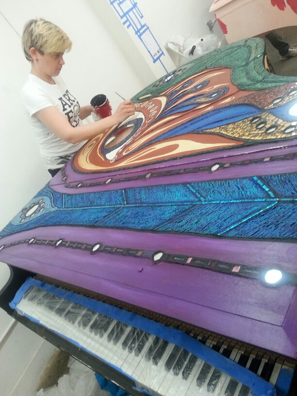 Picture courtesy of Sing for Hope Piano Artist  Zi Zi  in the final days in the piano studio! I was frantically working on outlining.