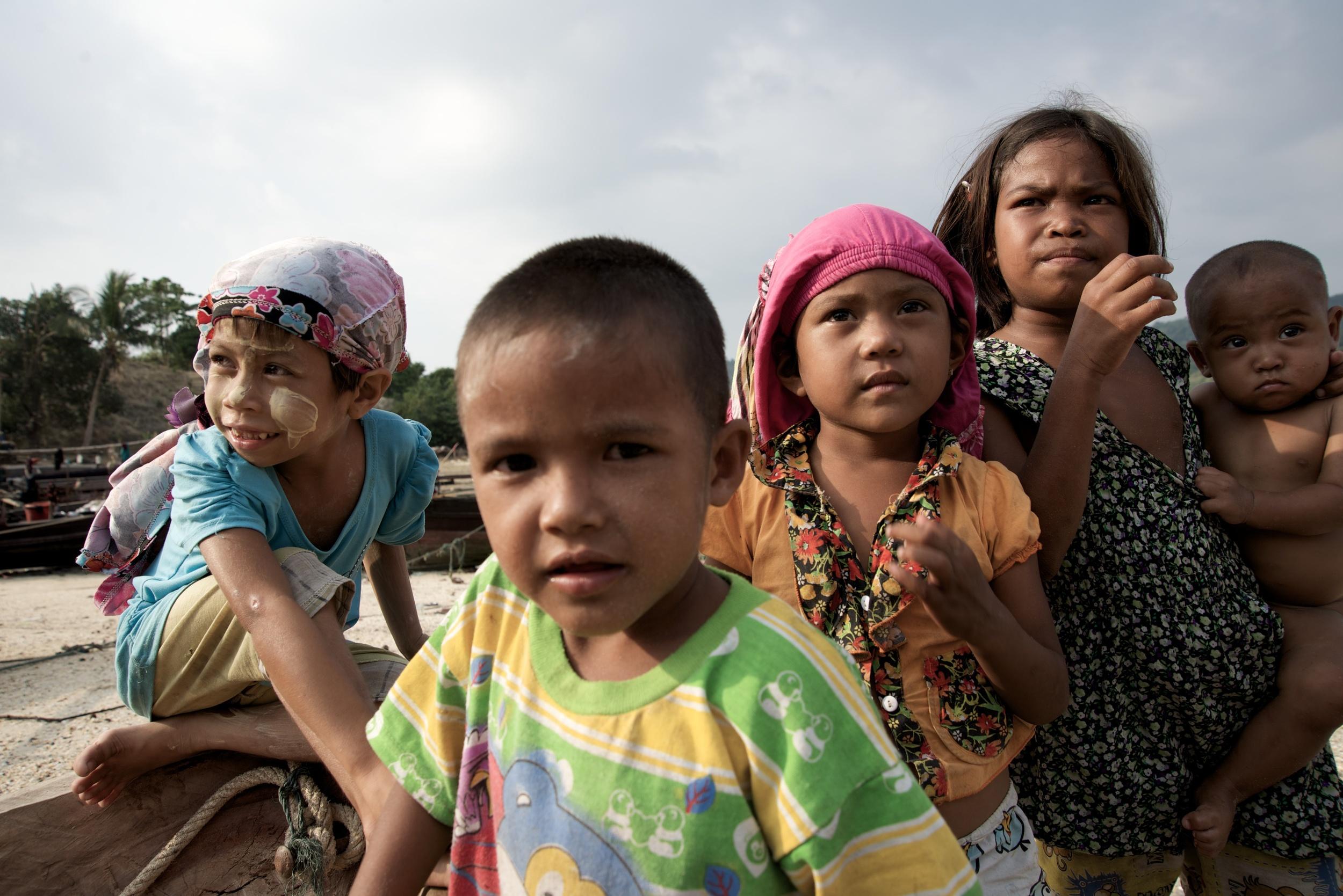 Moken children playing in their village