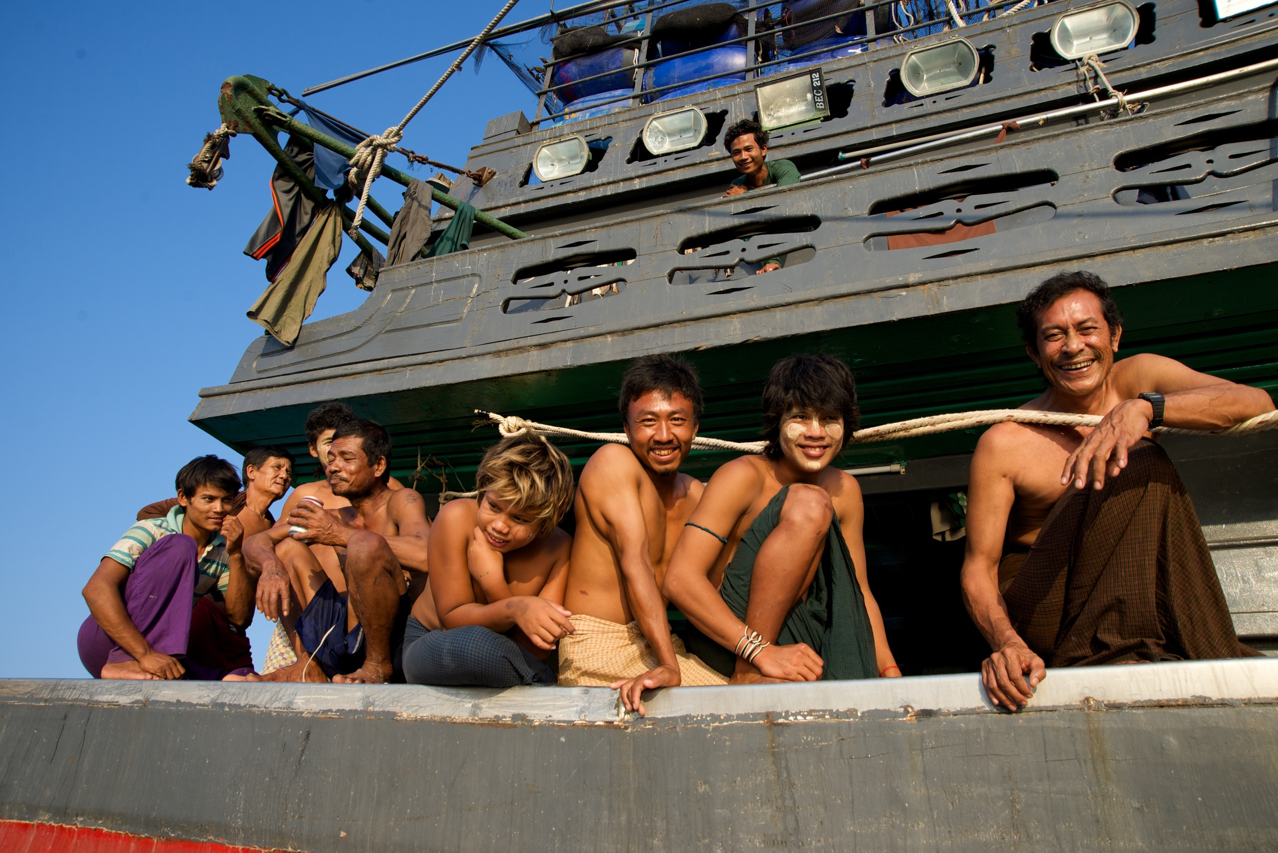 Curious crew on a Burmese fishing boat