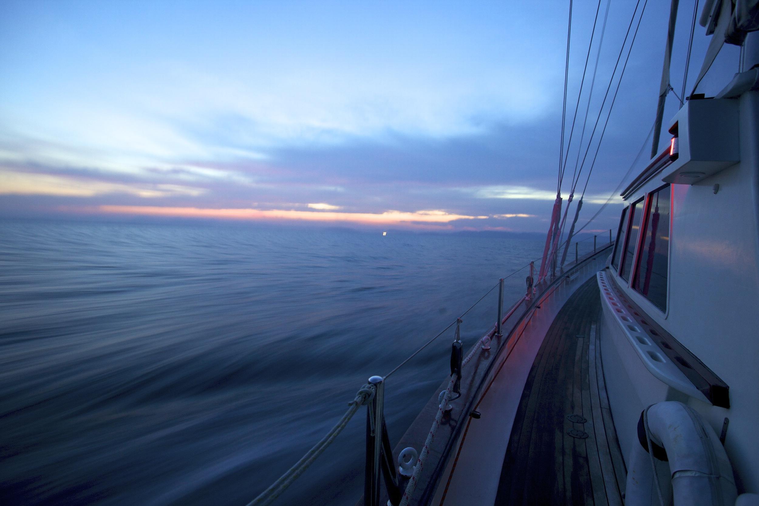 Meta IV sailing towards sunrise