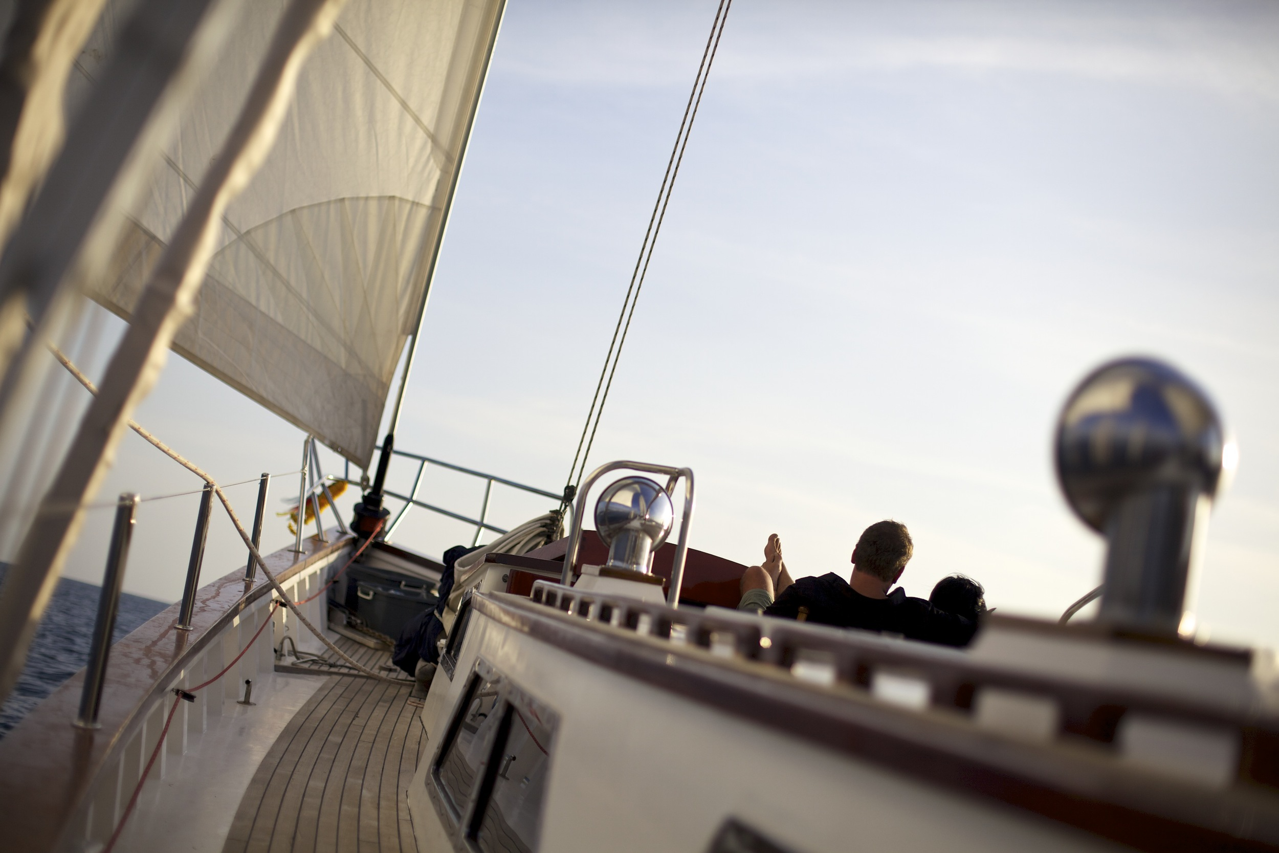 Romantic moment on the foredeck