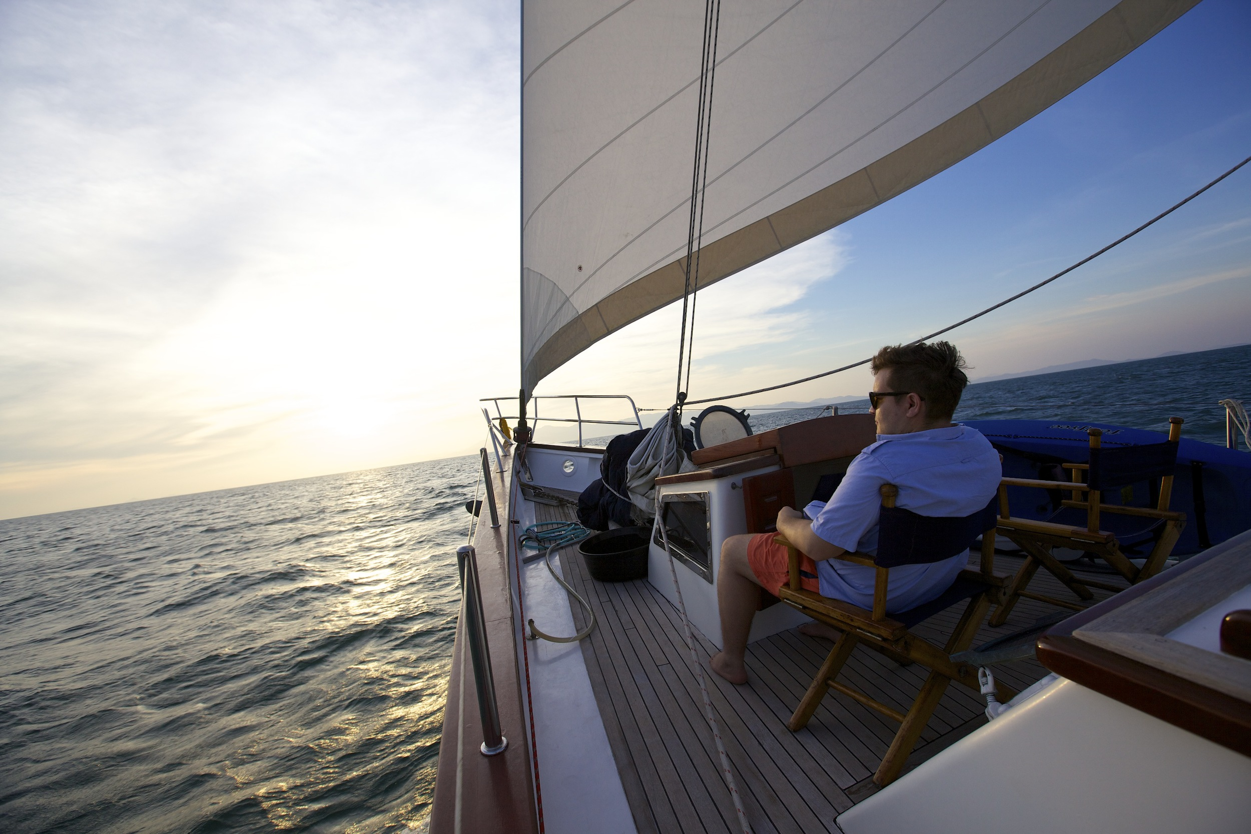 Sitting on the foredeck