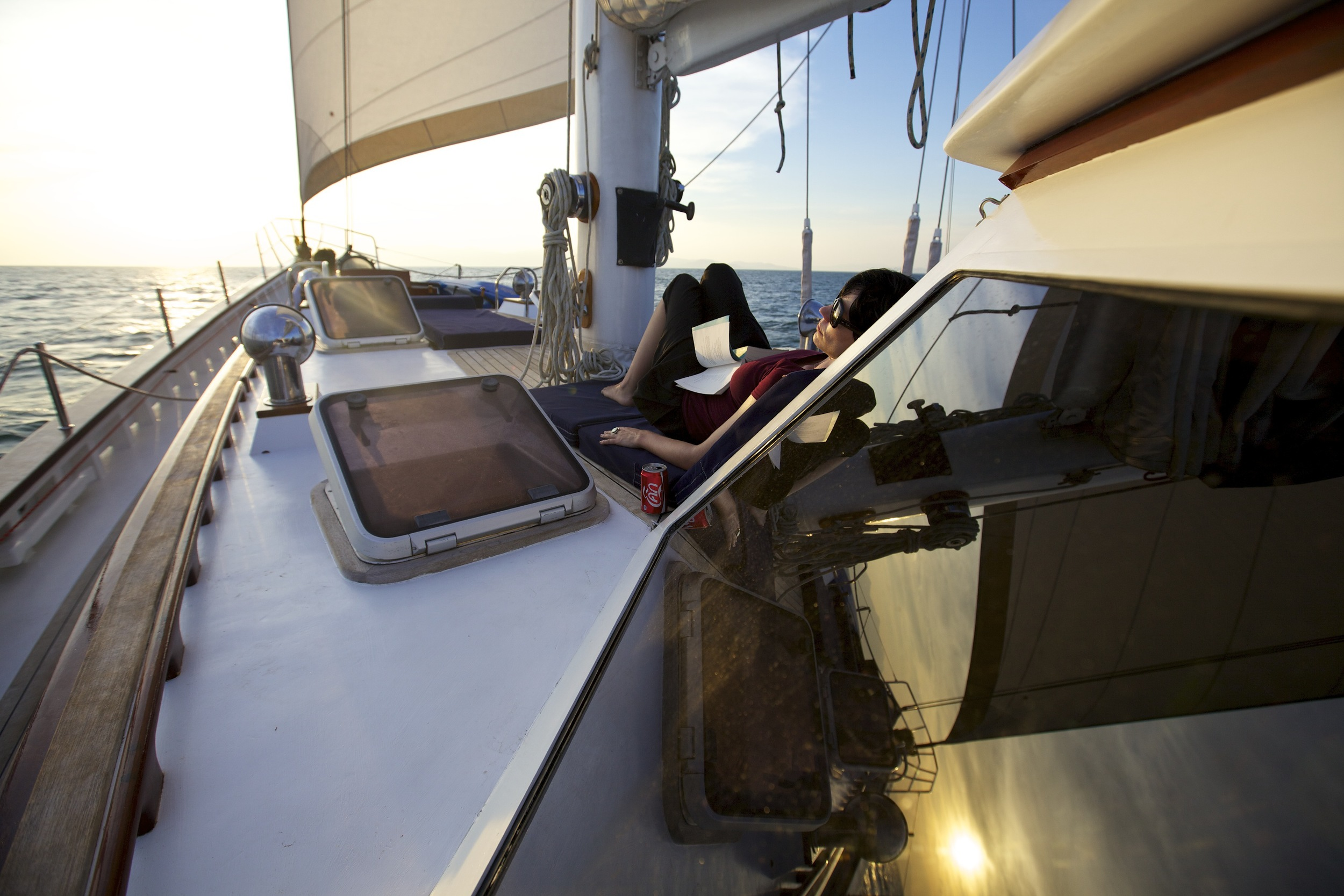 Reading on the foredeck