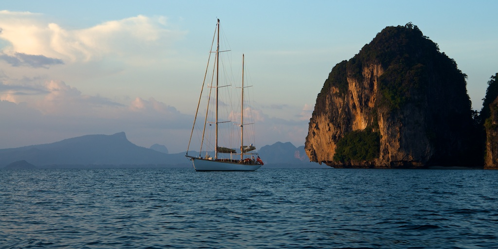 Aventure anchoring in the evening glow