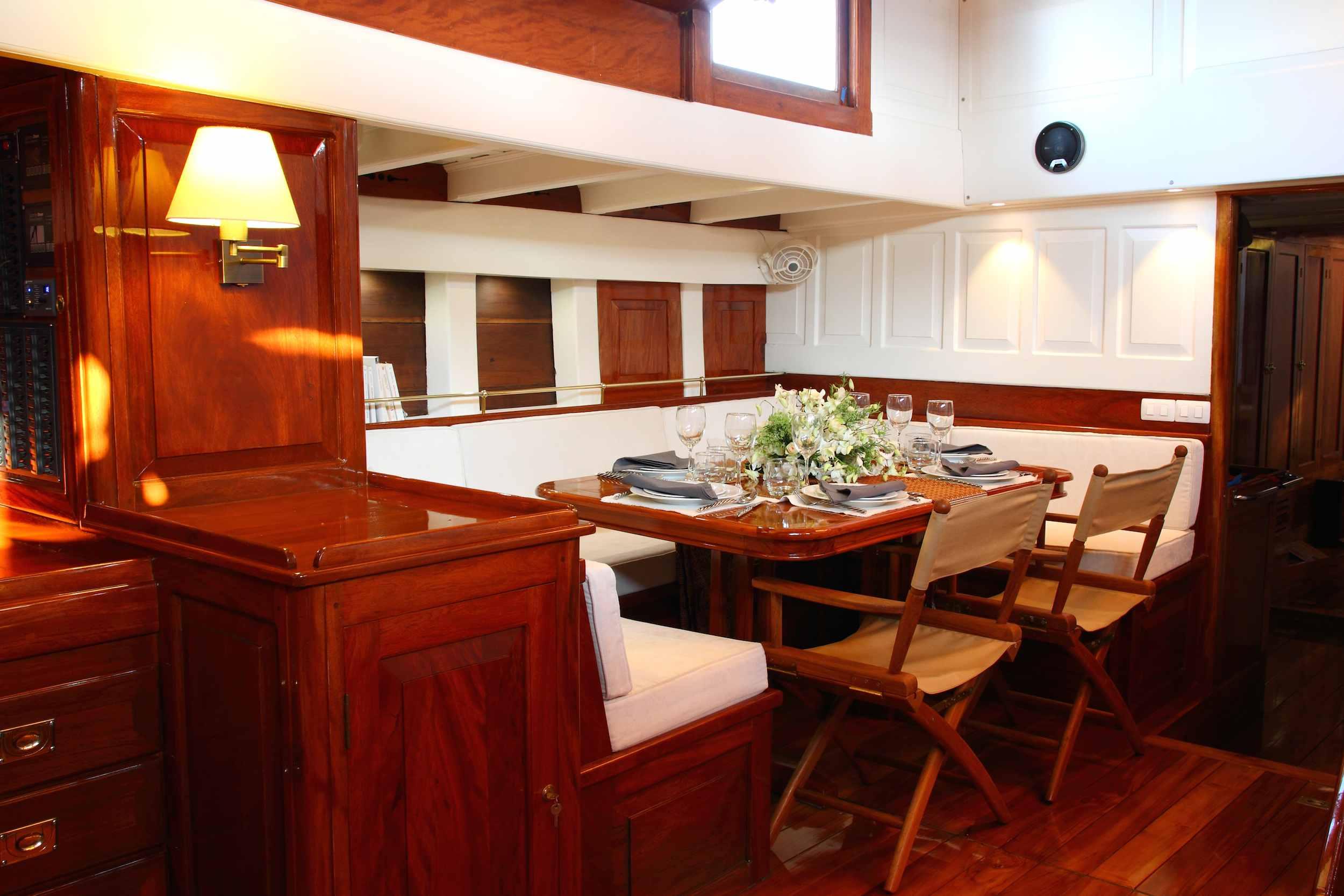 Aventure's below-deck dining area