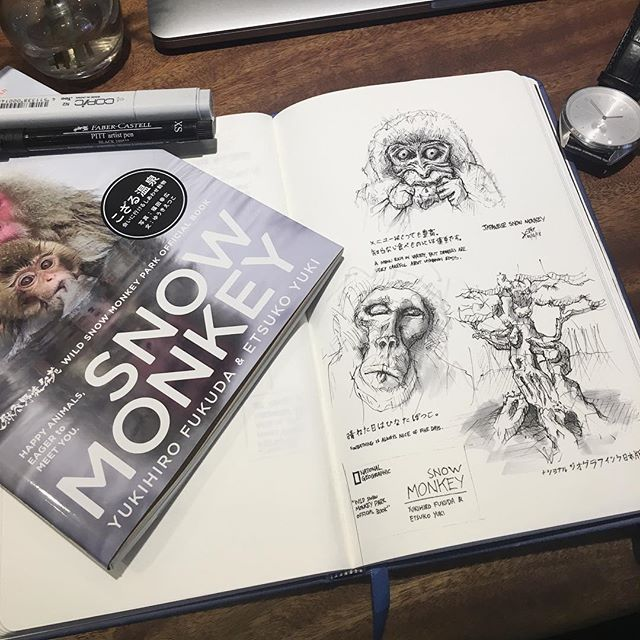 First sketch of the year . . . . . . . . . #sketchbook #snowmonkey #nationalgeographic #sketch #kennethsketches #kenneths2018 #jigokudanisnowmonkeypark #dbsuxd #teamphotoshoot #cafe #analogue #fabercastell #singapore #monkey #copic