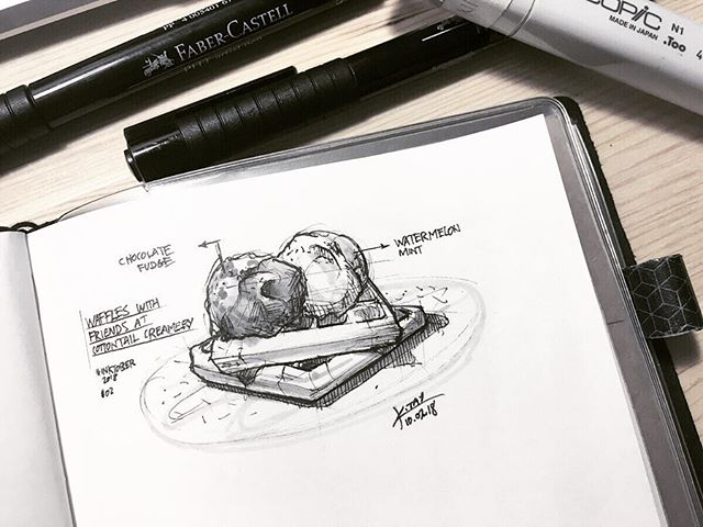 Realized there's actually an official prompt list for #inktober. Today's prompt is #tranquil.  For me tranquility is nights like tonight, having conversations with good friends over #waffles and #icecream, making a busy Tuesday feel like a relaxing weekend.  Since I returned to #singapore after 7yrs away, noticed much more #cafes like these popping up among housing districts in the heartlands of Singapore. A welcome sight and nice contrast to the more gritty #kopitiam that traditionally line the neighborhood blocks.  #inktober2018 #day2 #sketch #sketchbook #analog #copic #ink #loveforanalogue #travelersnotebook #kennethsketches #cottontailcreamery #serangoon