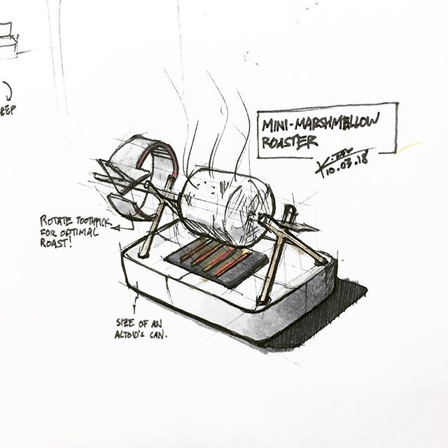 #inktober #day3 – prompt: #roasted  Fun little #concept #sketch of a personal desktop #marshmallow #roaster. Roasts only one marshmallow at time for optimum #flavor, with the benefit of preventing the user from over indulging.  #inktober2018 #sketch #sketchbook #analog #copic #ink #loveforanalogue #travelersnotebook #kennethsketches #chindogu #id #product #industrial #design #creativestrategies #fun